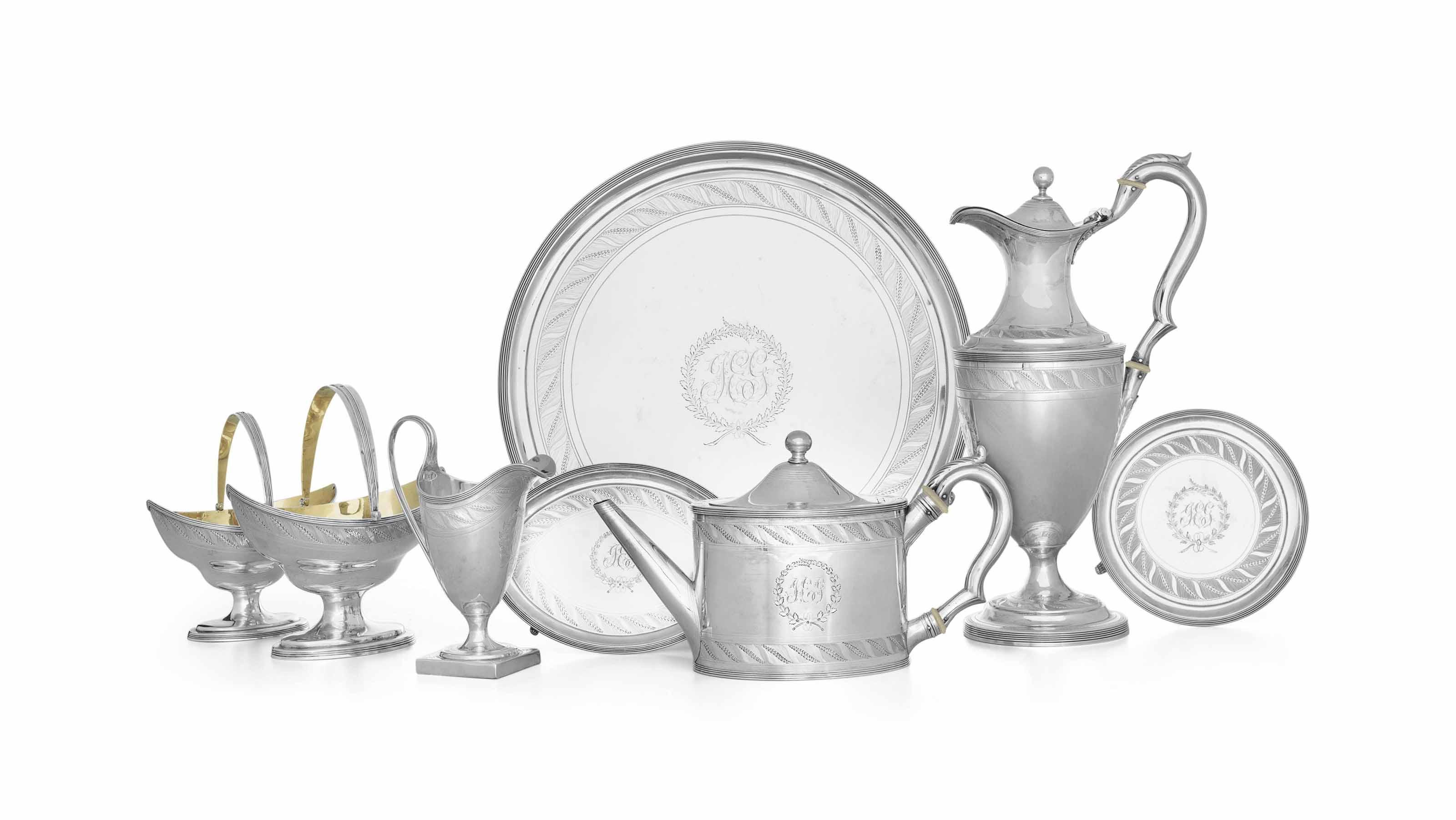 A GEORGE III SILVER TEA AND COFFEE SERVICE