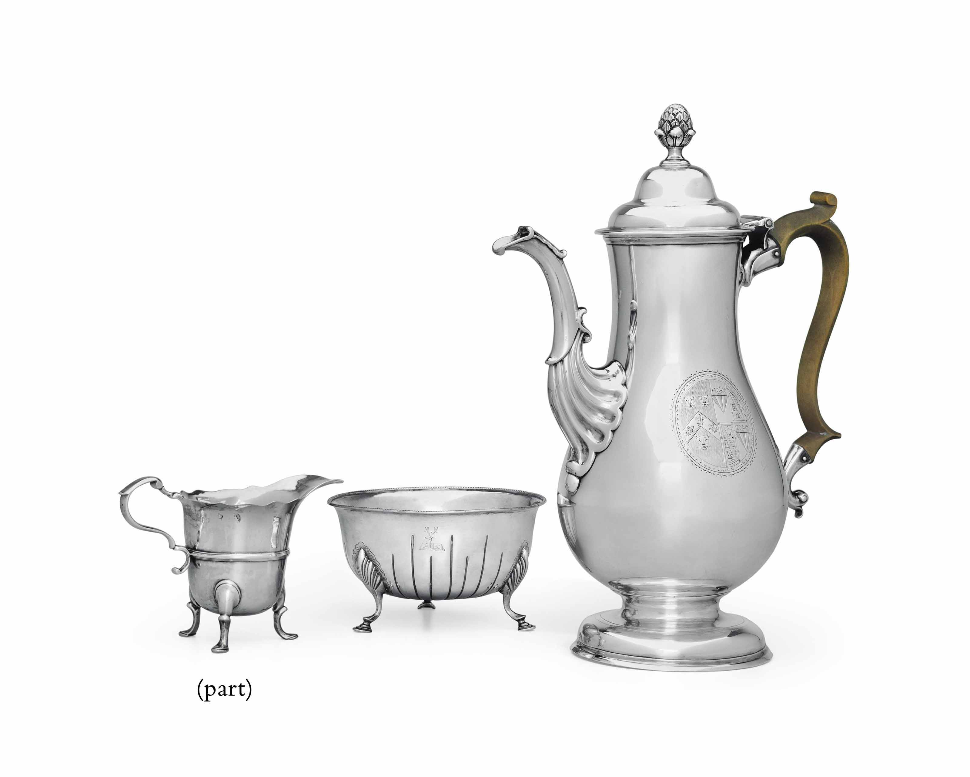 A GROUP OF GEORGE III IRISH AND SCOTTISH SILVER TEA AND COFFEE WARES