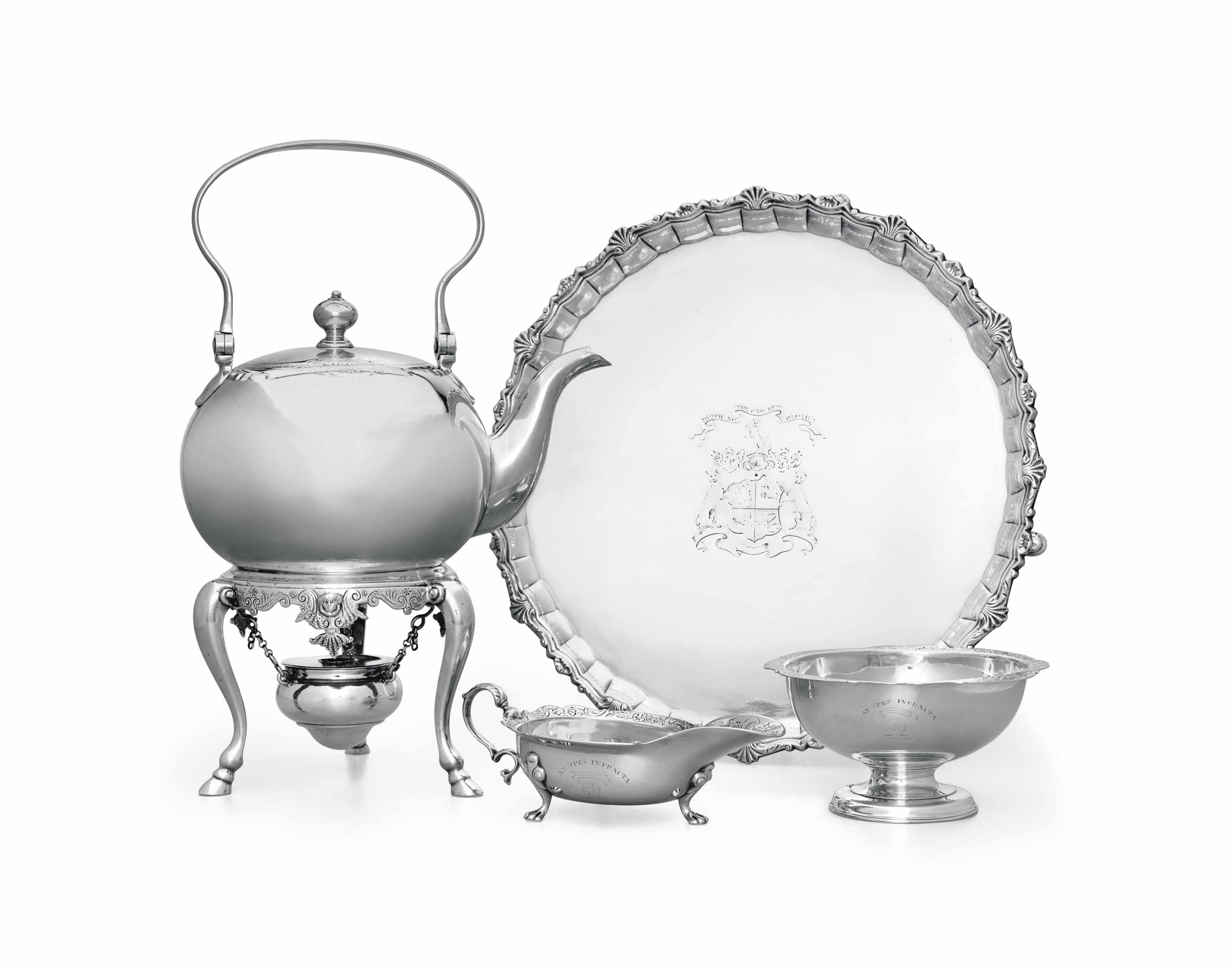 AN ASSEMBLED GEORGE II SCOTTISH SILVER TEA SERVICE AND SALVER