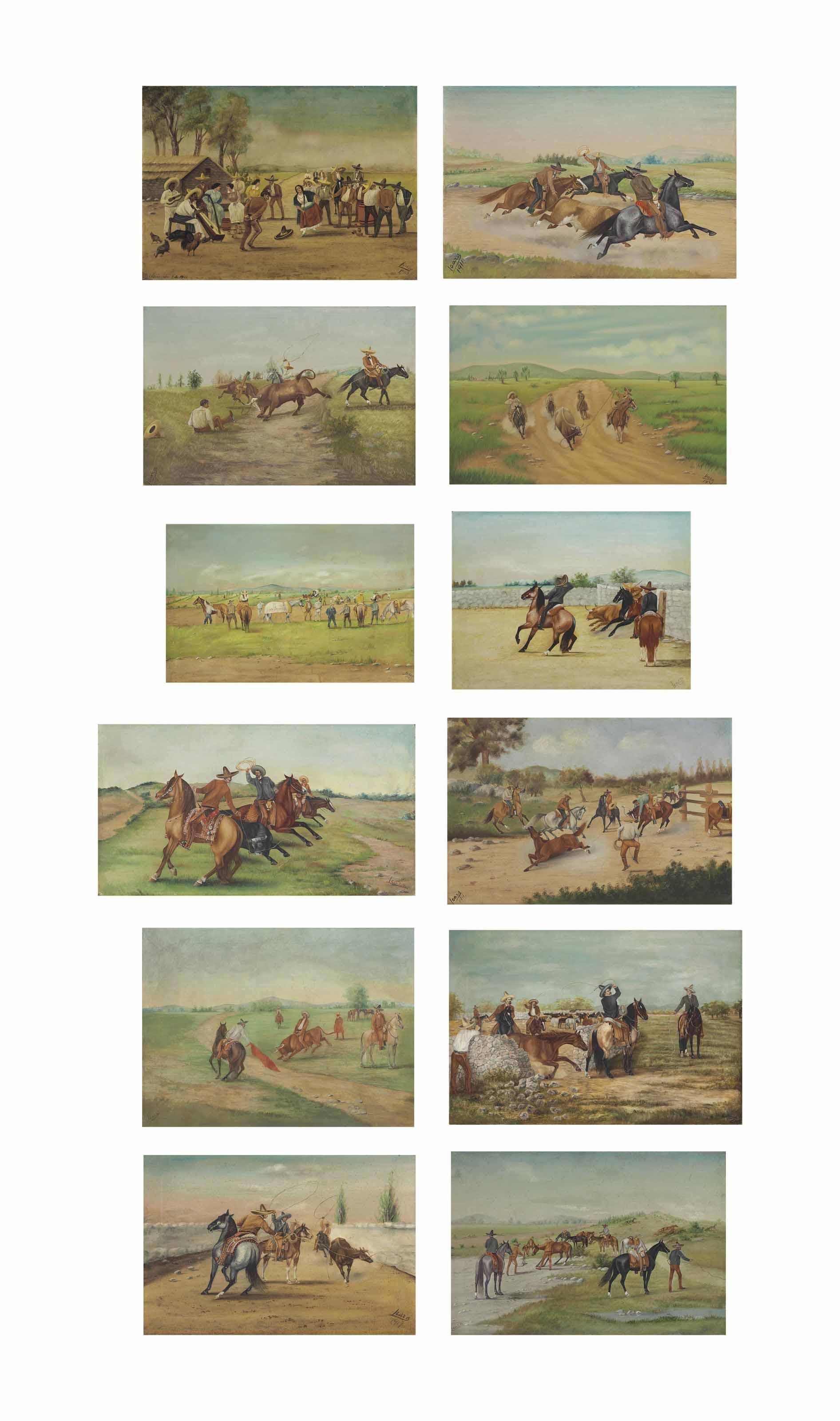A group of Twelve Oil Paintings