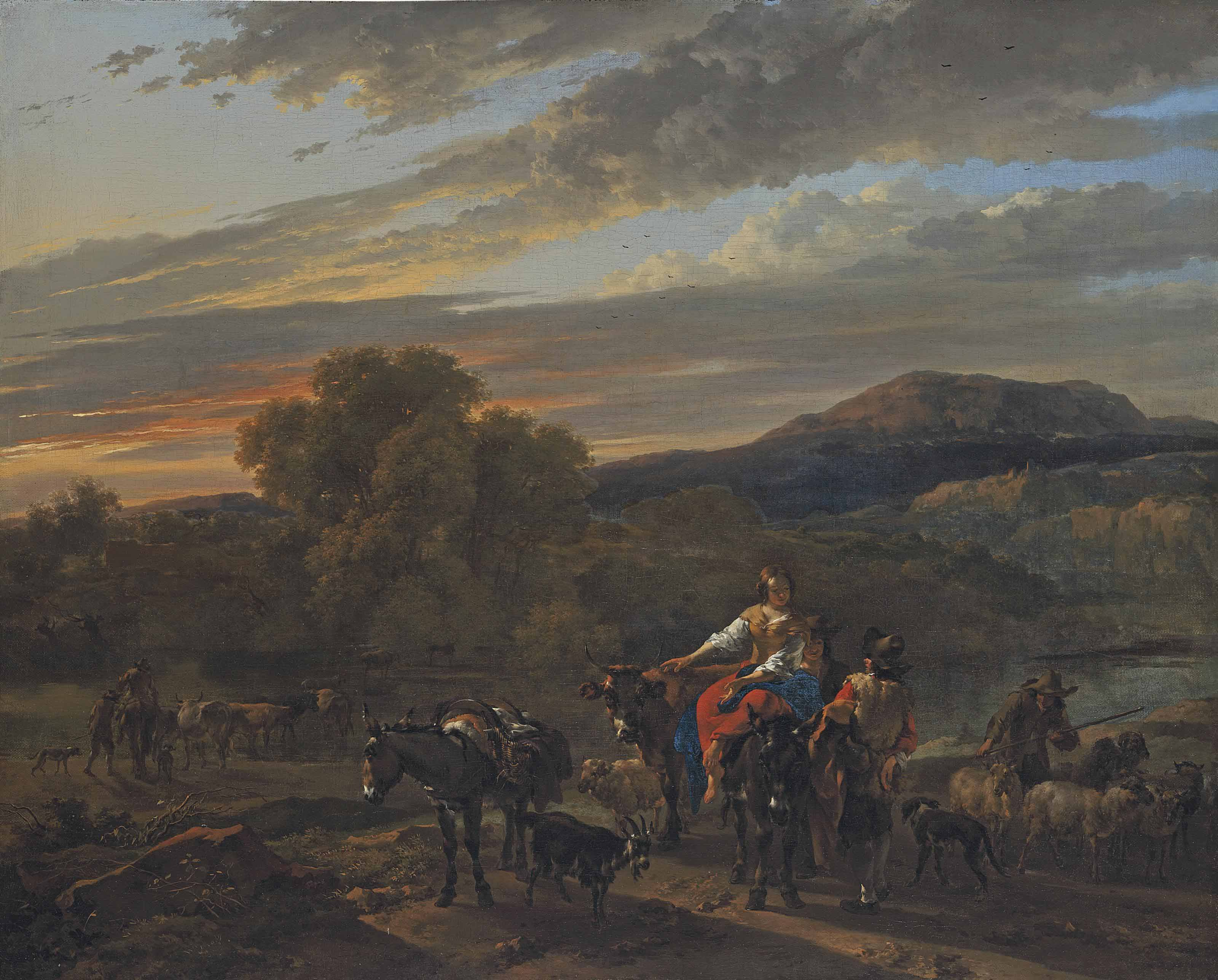 An Italiante landscape with shepherds, cows and sheep