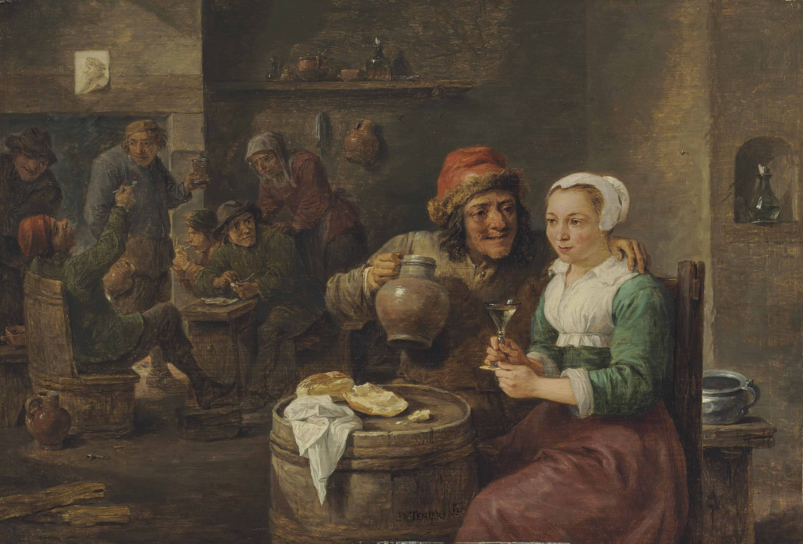 A boor and a young woman drinking in a tavern