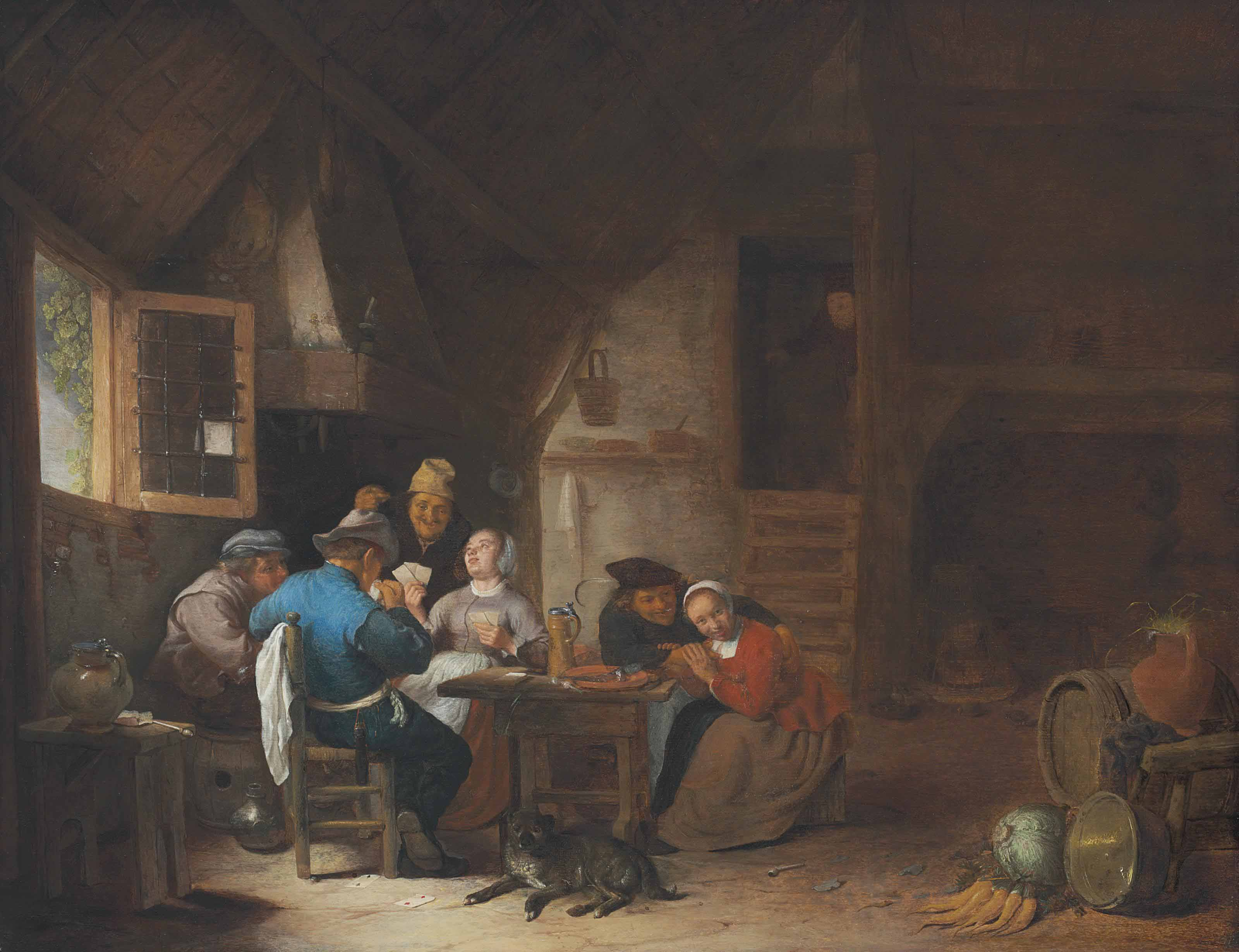 An interior with peasants seated around a table playing cards