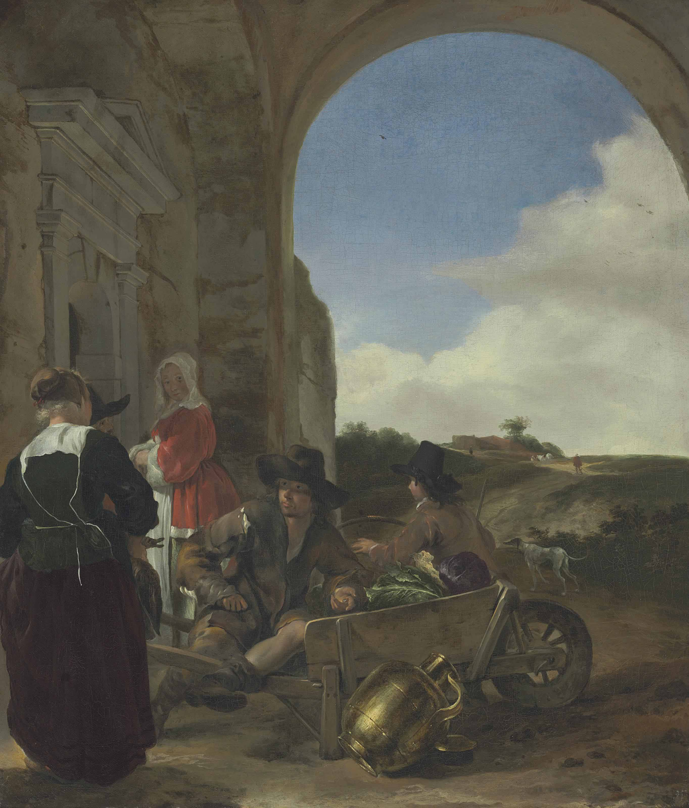 An Italianate landscape with a vegetable vendor selling his goods