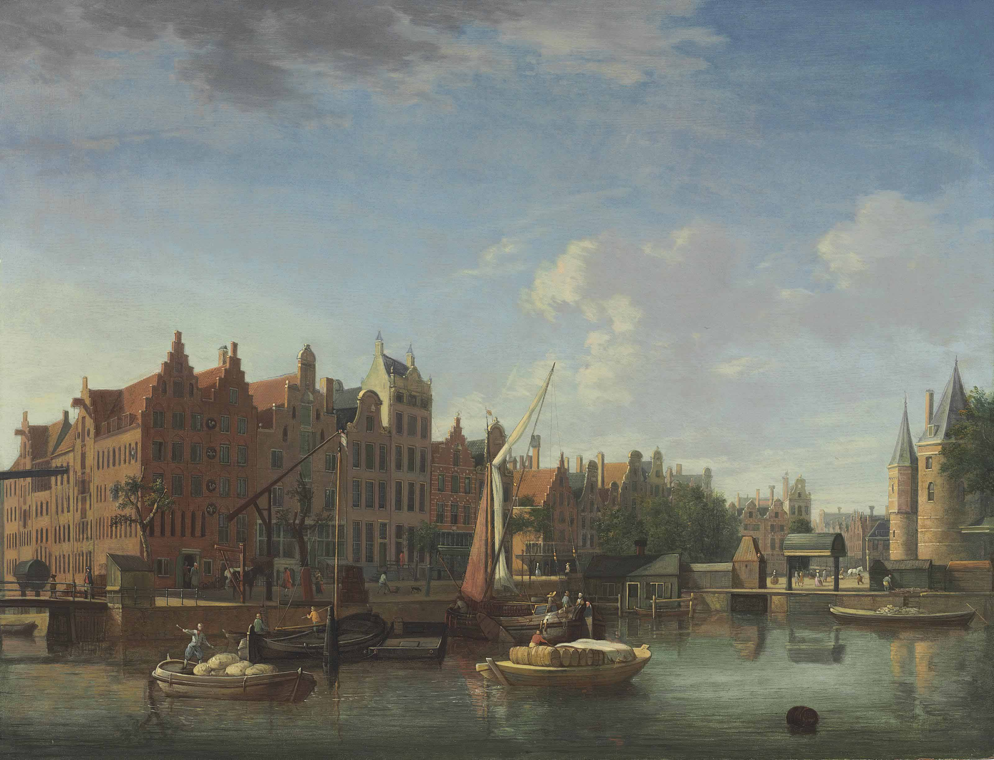 The Gelderse Kade, the Haan and Sleutels Brewery, and the Waag, Amsterdam