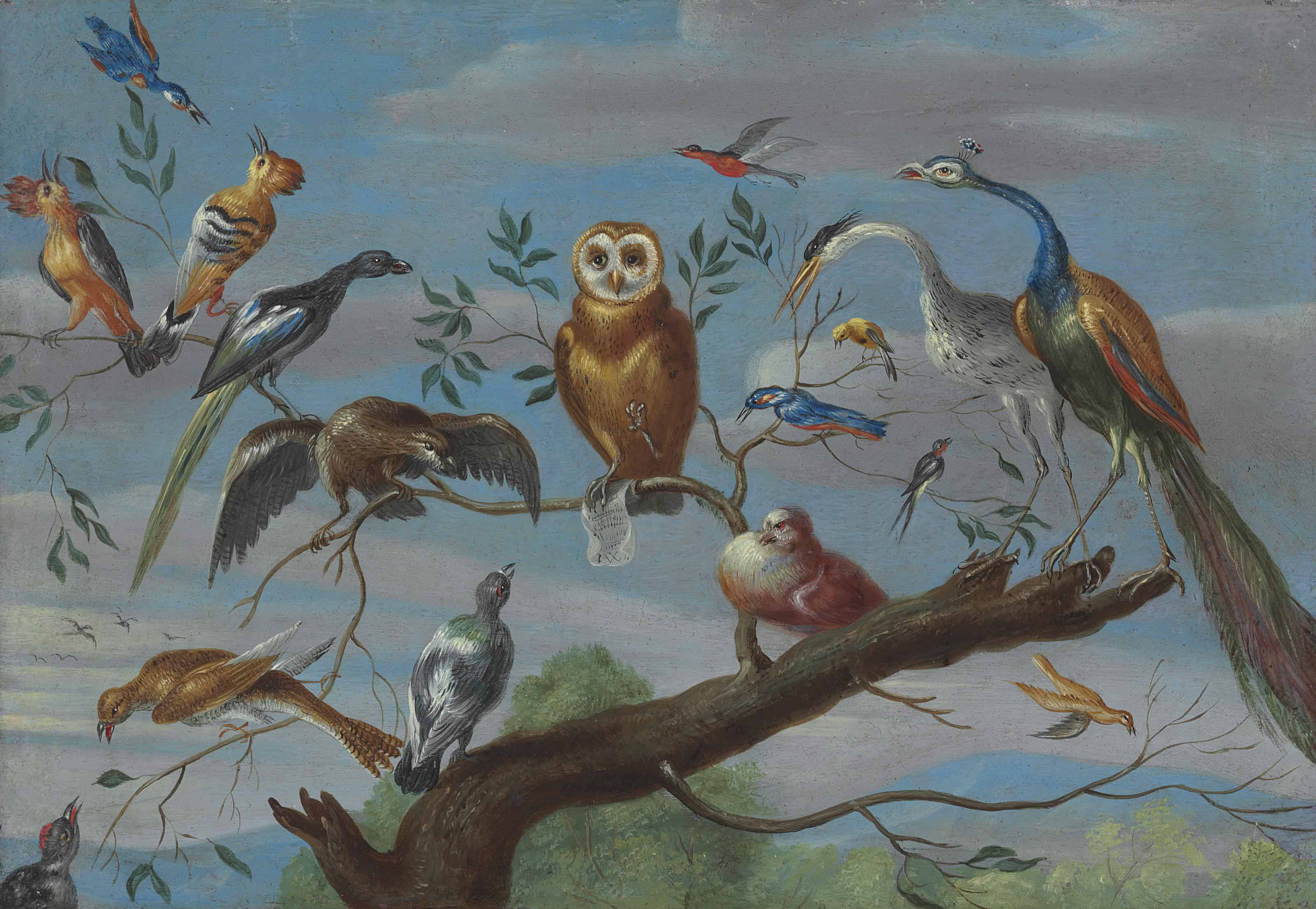 A concert of birds: an owl, pigeon, canary, peacock and other birds on a tree branch
