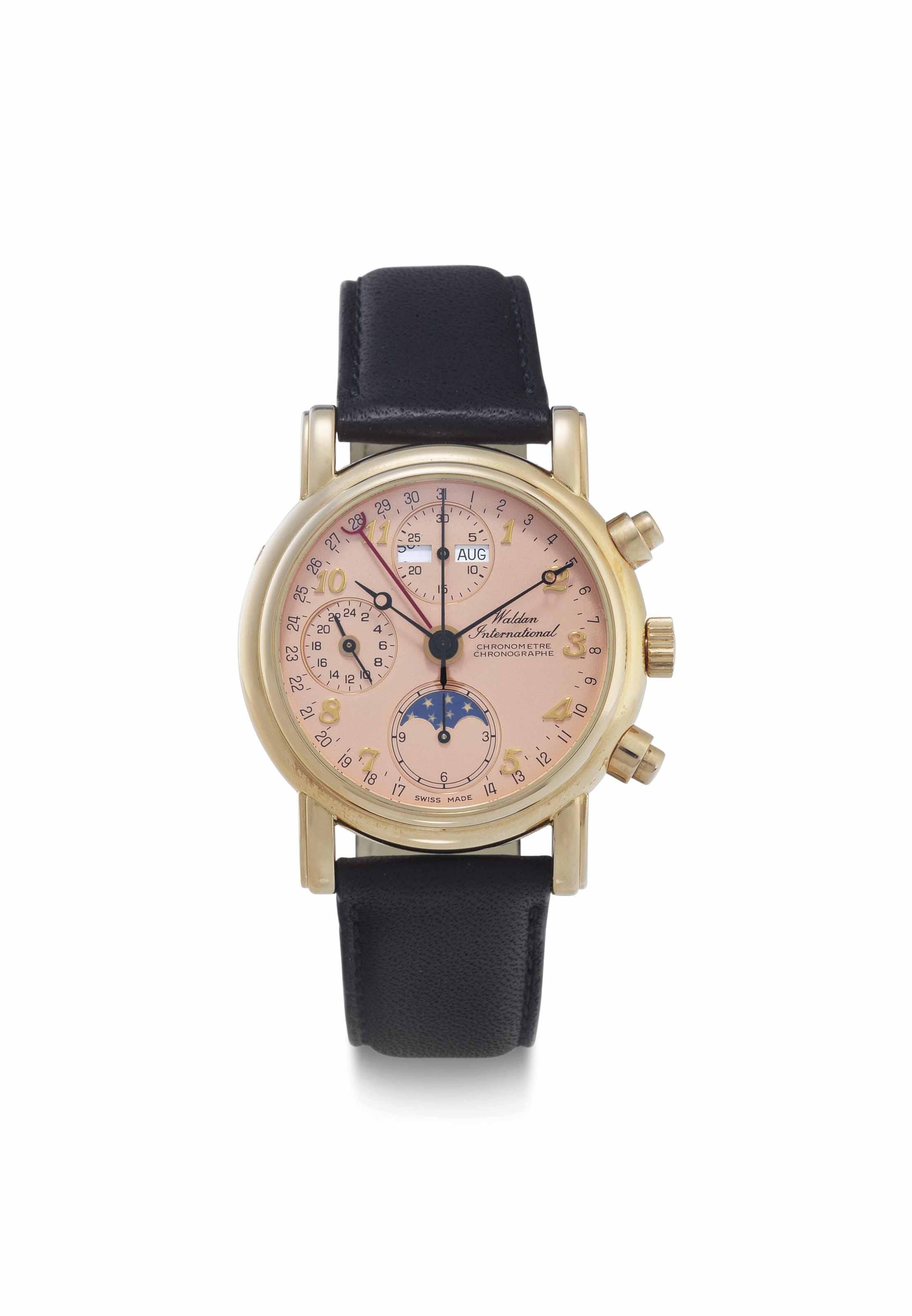 Waldan International. An 18k Pink Gold Automatic Triple Calendar Chronograph Wristwatch with Moon Phases
