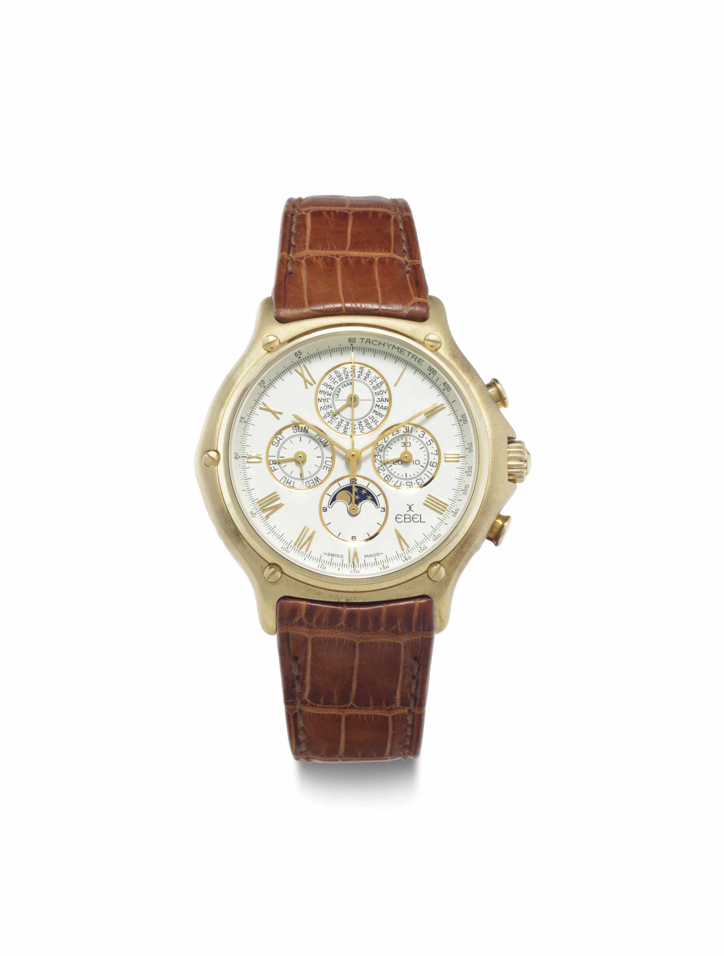 Ebel. An 18k Gold Automatic Perpetual Calendar Chronograph Wristwatch with Moon Phases