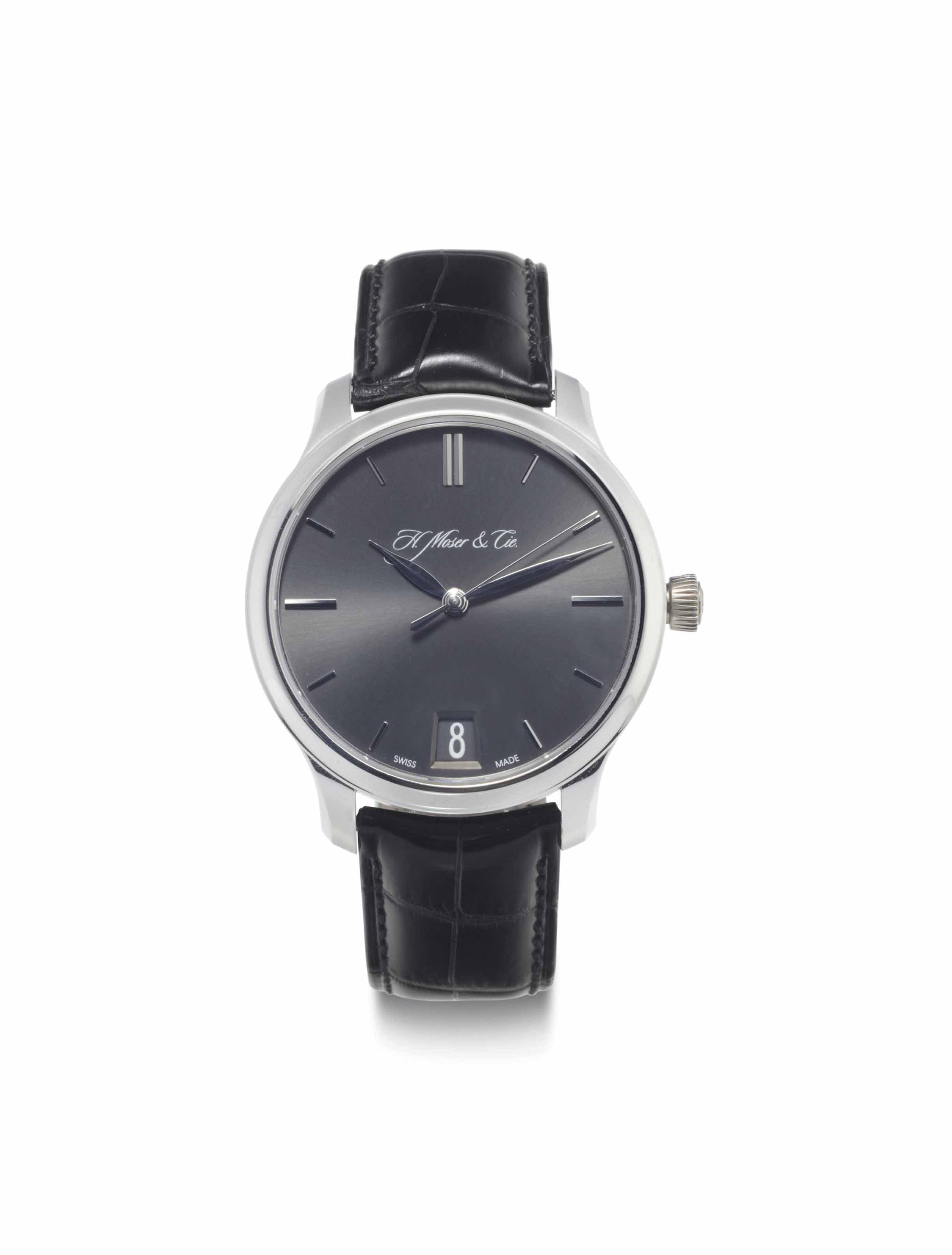 H. Moser & Cie. A Fine Platinum Wristwatch with Date and Power Reserve