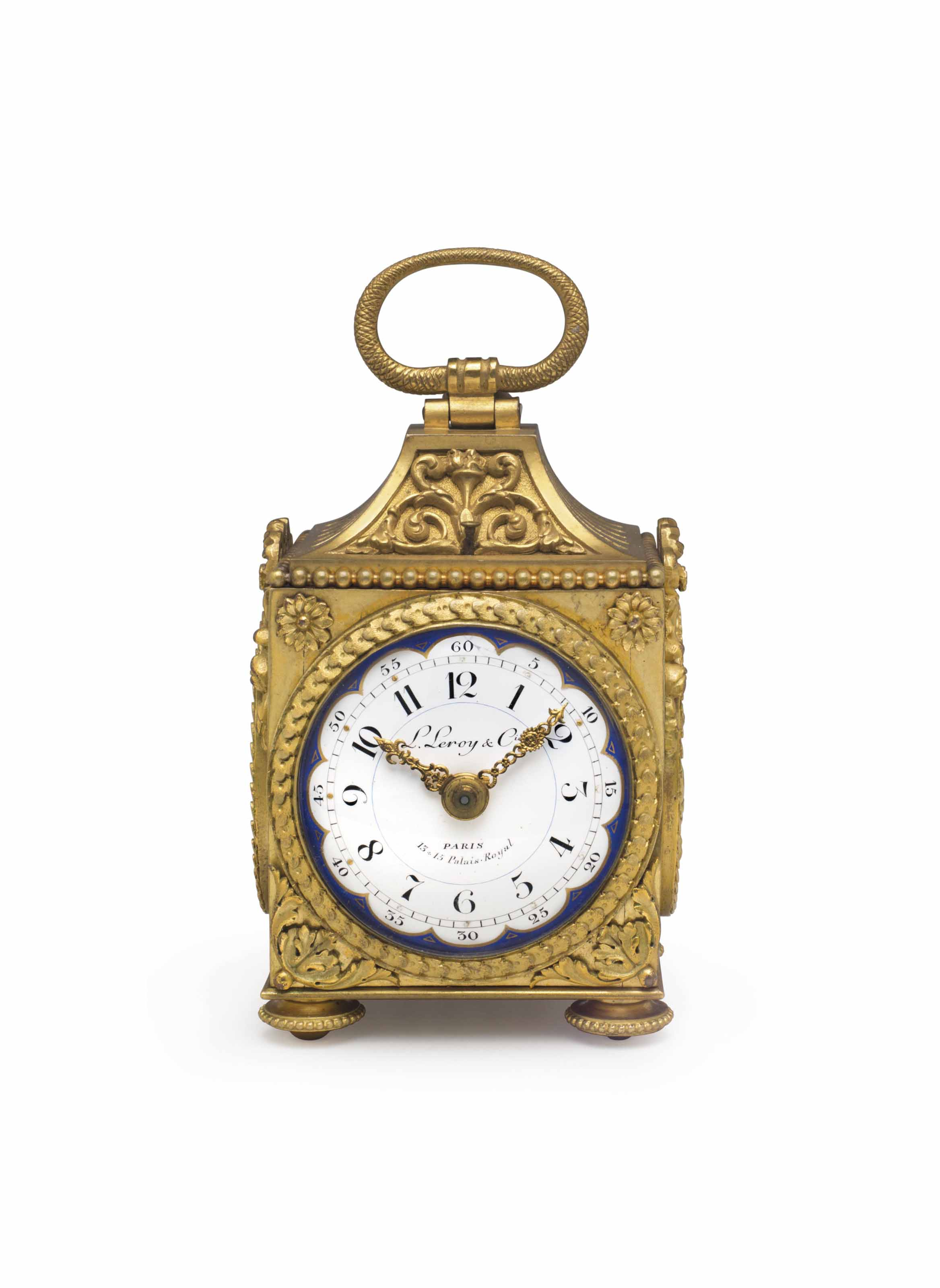 LeRoy.  A Fine and Rare Gilt-Brass and Enamel Striking and Repeating Eight Day Miniature Pendule d' Officier Carriage Clock