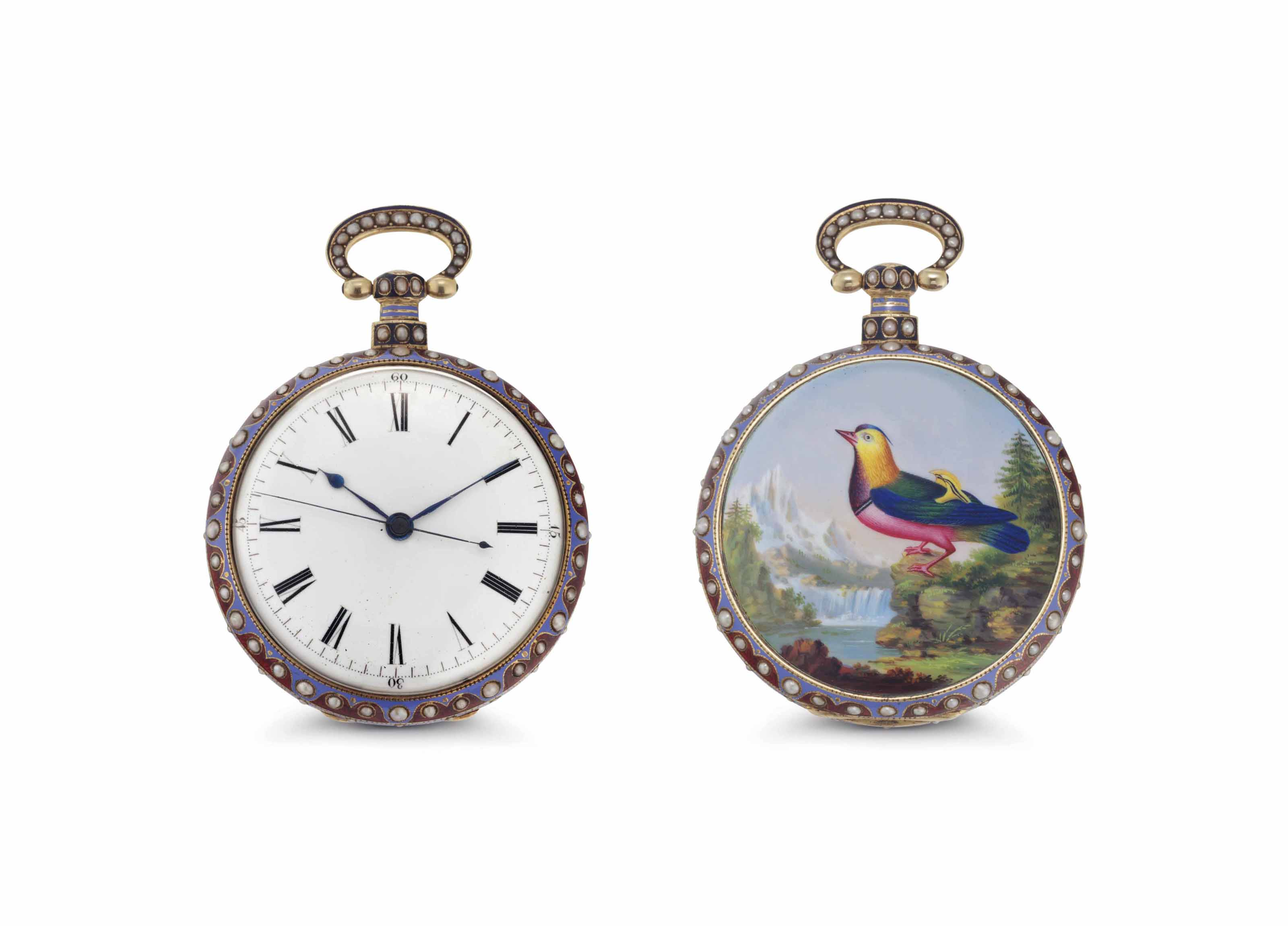 Bovet Fleurier. A Fine and Rare 18k Gold, Enamel and Pearl-set Openface Duplex Pocket Watch with Center Seconds Made for the Chinese Market