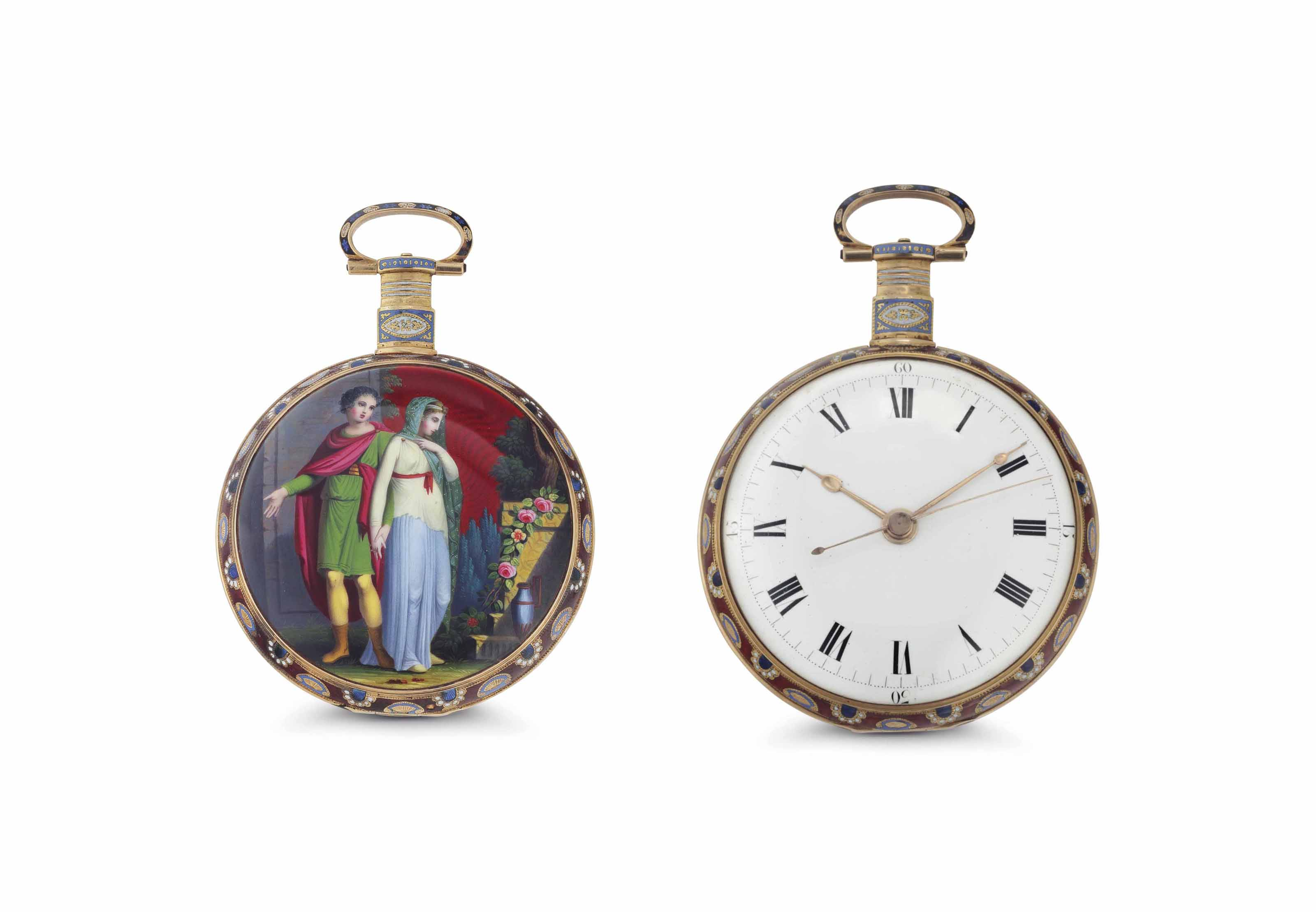 Ilbery. An Exceptional 18K Gold and Enamel Openface Center Seconds Duplex Watch Made for the Chinese Market