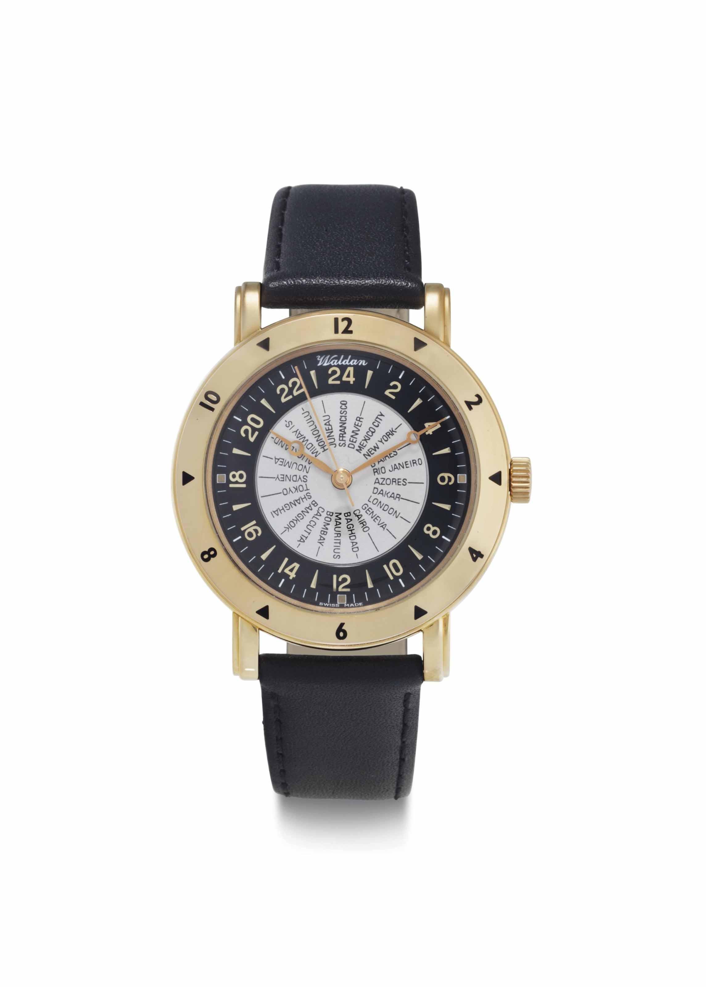 Waldan International. An 18k Pink Gold Automatic World Time Wristwatch