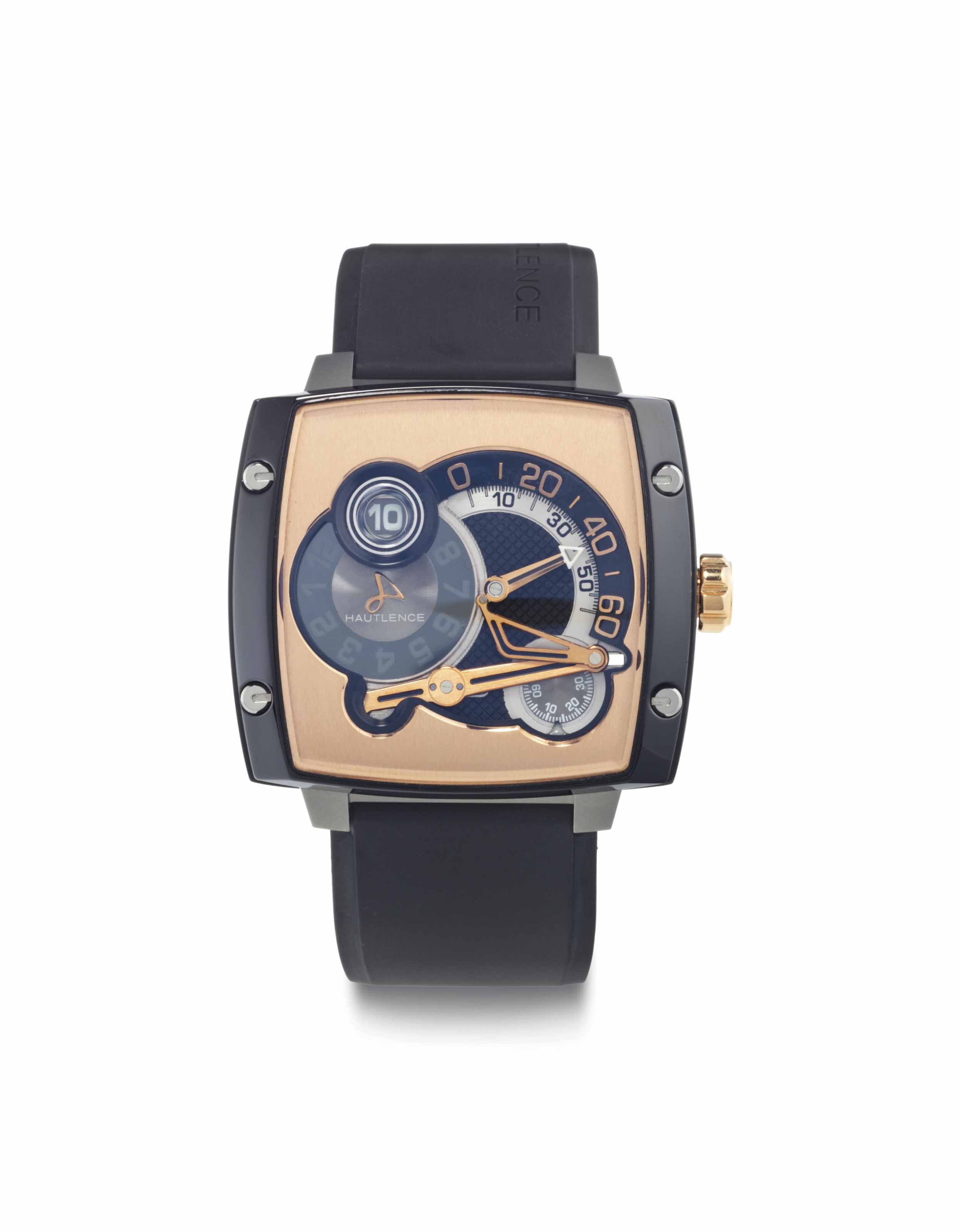 Hautlence. A Large, Rare and Unusual 18k Pink Gold, Titanium and Black DLC-Coated Stainless Steel Limited Edition Cushion-Shaped Jump Hour Wristwatch with Retrograde Minutes