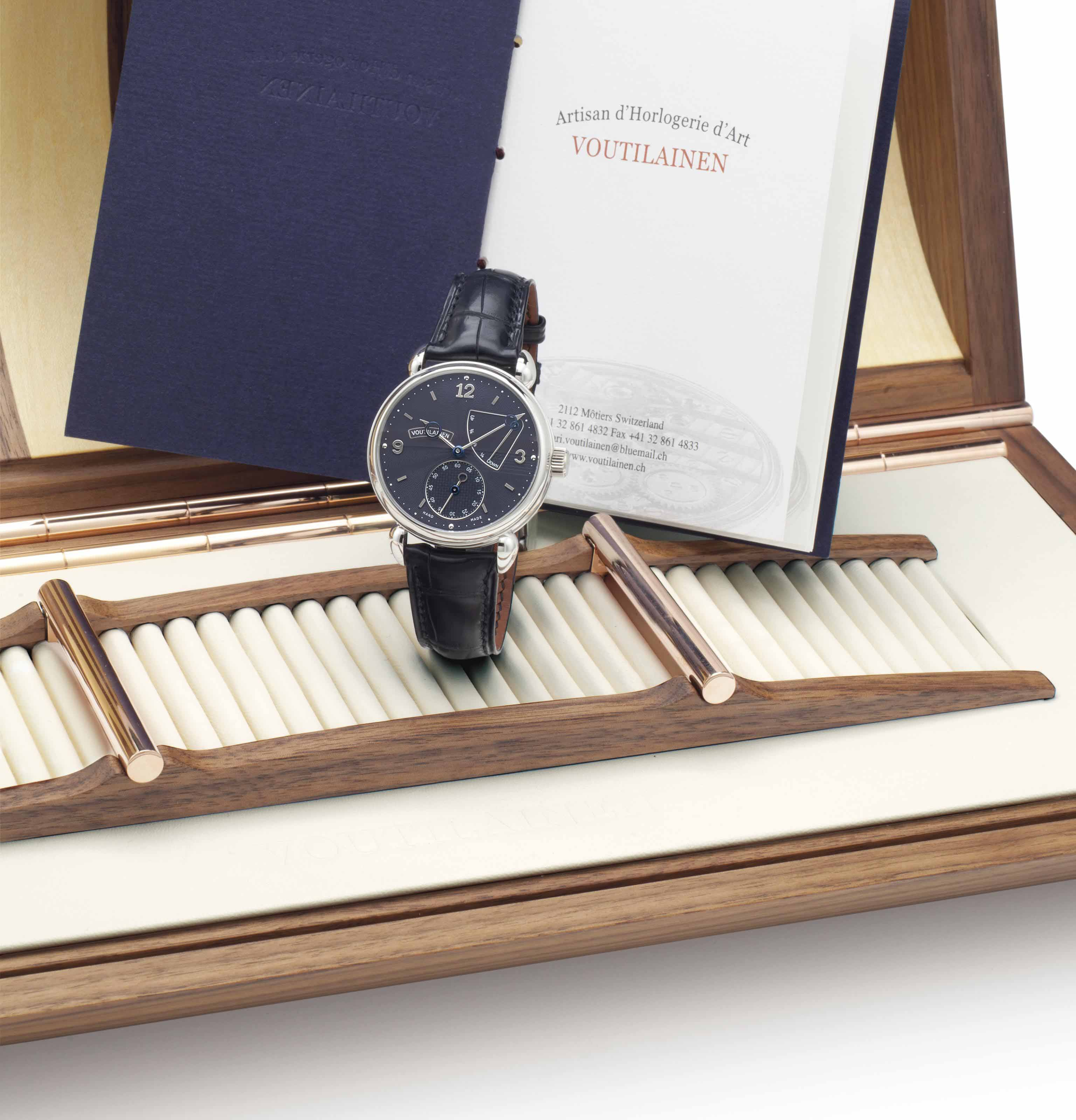 Kari Voutilainen. A Very Fine Limited Edition Platinum Wristwatch with Power Reserve