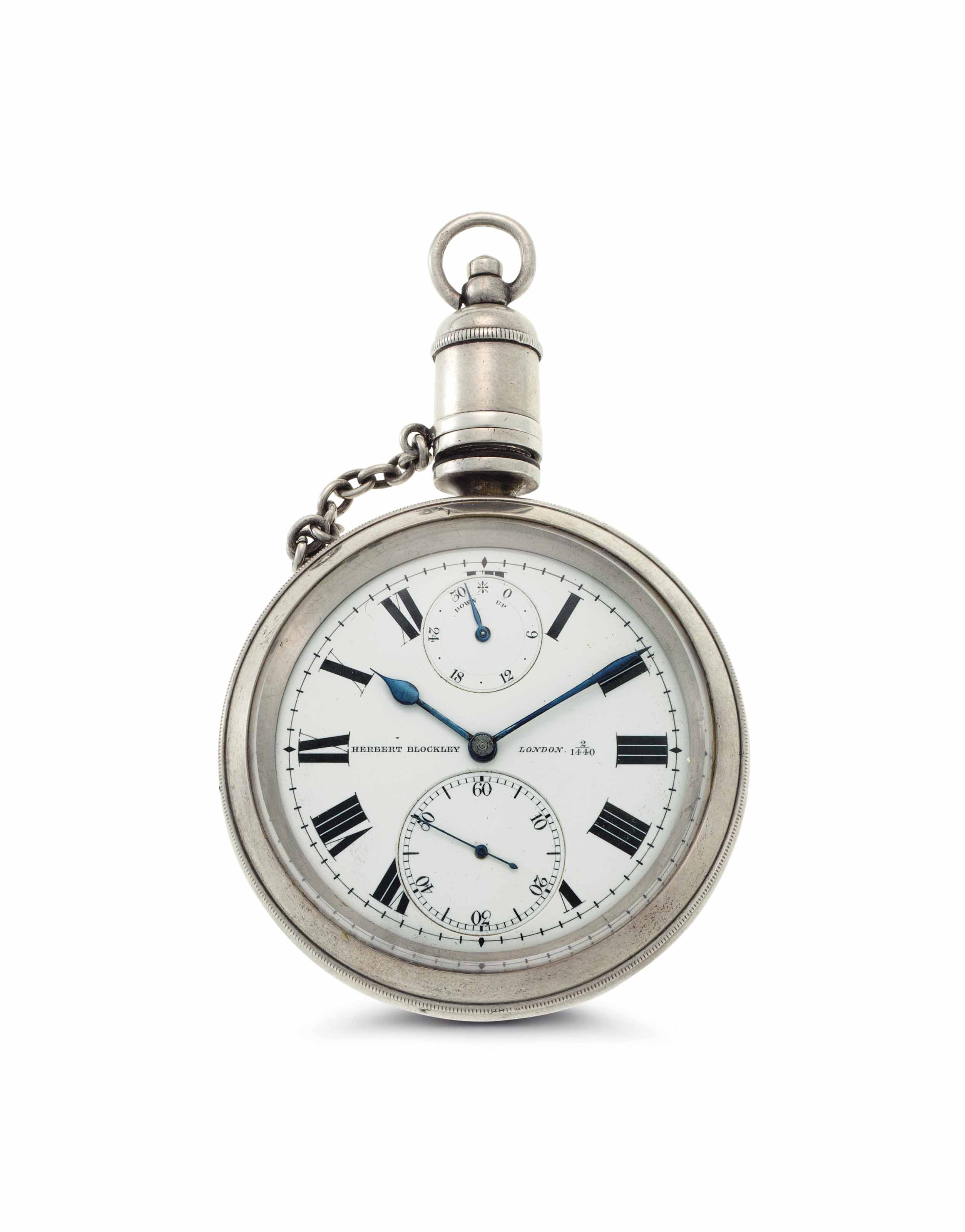 Blockley.  A Silver Openface Keyless Lever Deck Watch with Up and Down and Original Wooden Box