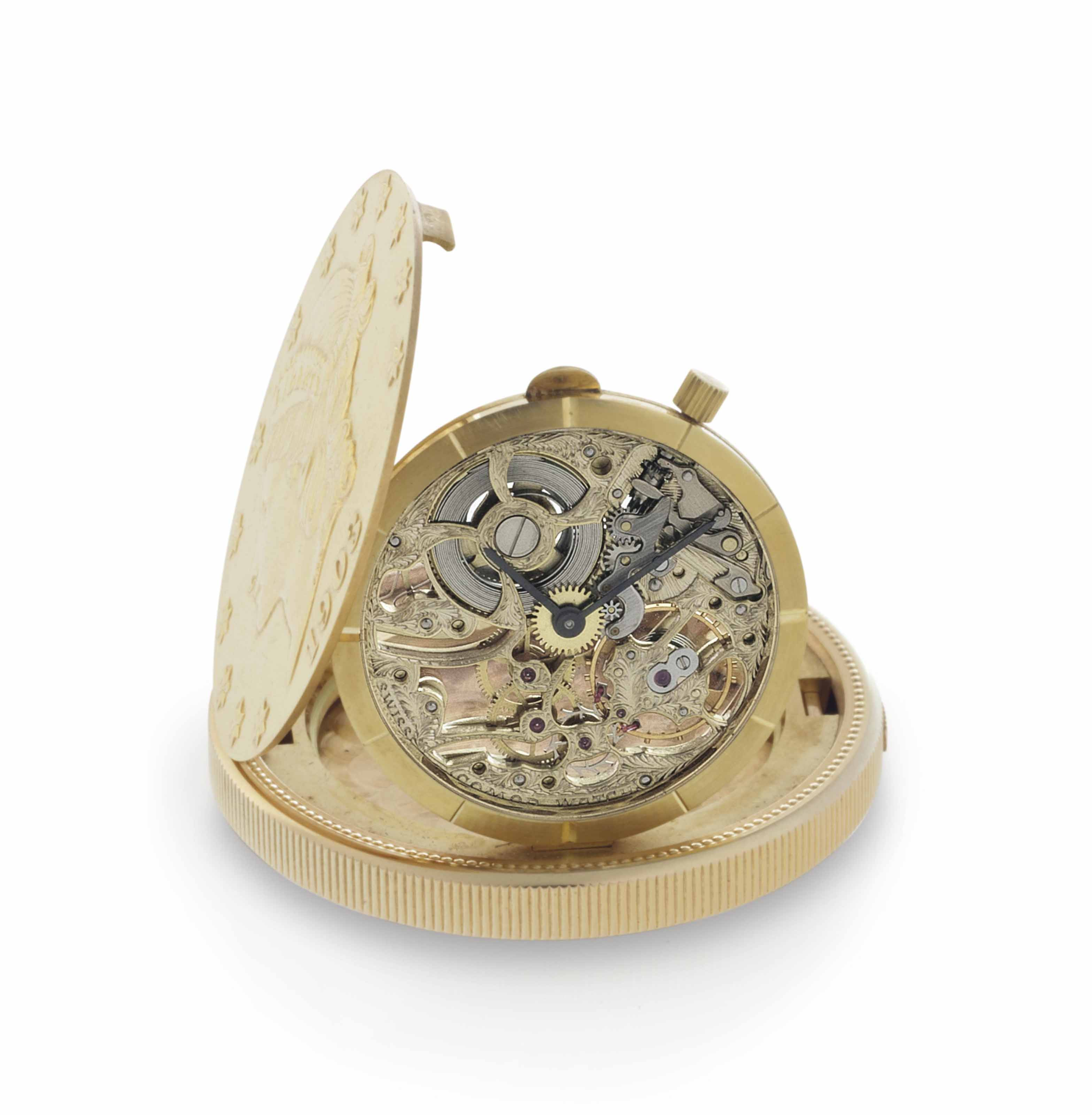 Comor. A Fine 18k Gold United States of America Twenty Dollar Coin Watch with Skeletonized Dial