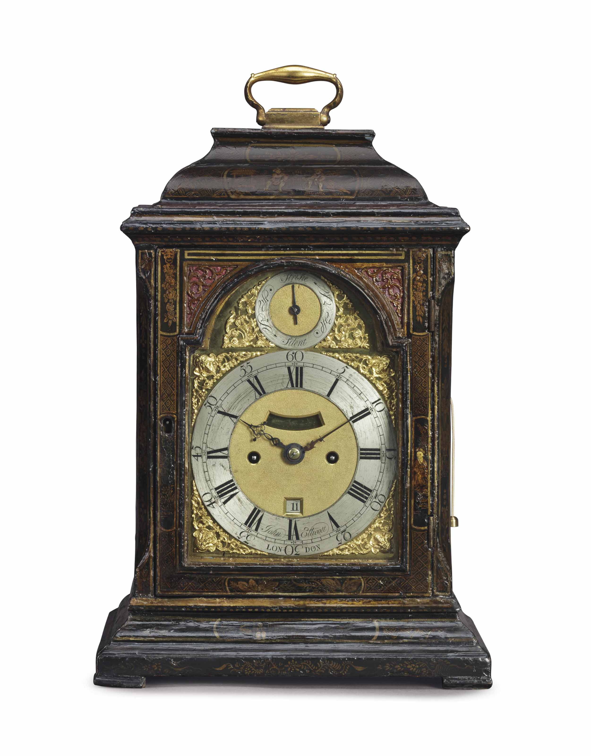 A GEORGE II GREEN AND GILT-JAPANNED STRIKING TABLE CLOCK