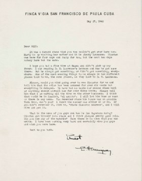 HEMINGWAY, Ernest Typed letter signed, twice (