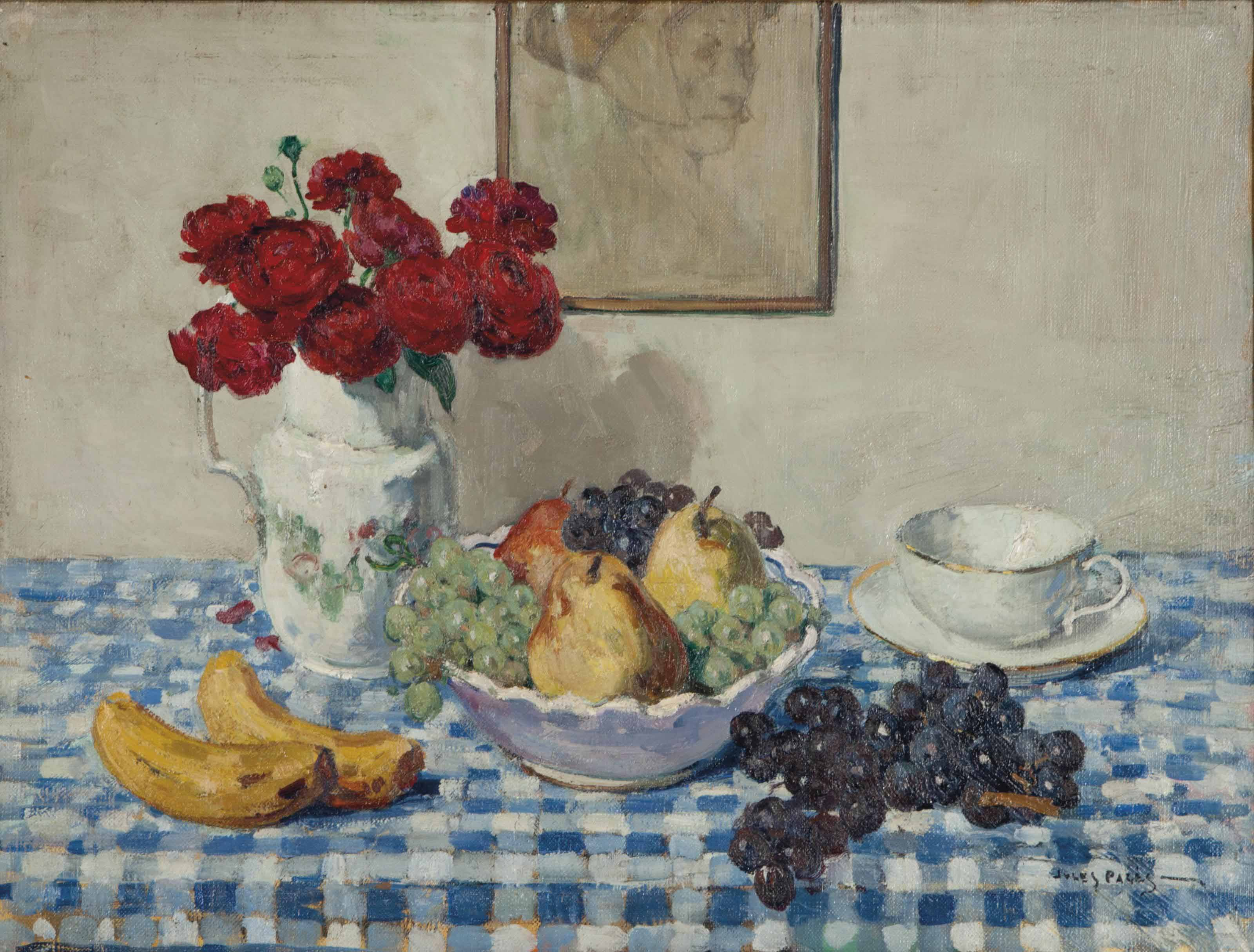 Still life with a bowl of fruit, cup and saucer, and a pitcher of flowers