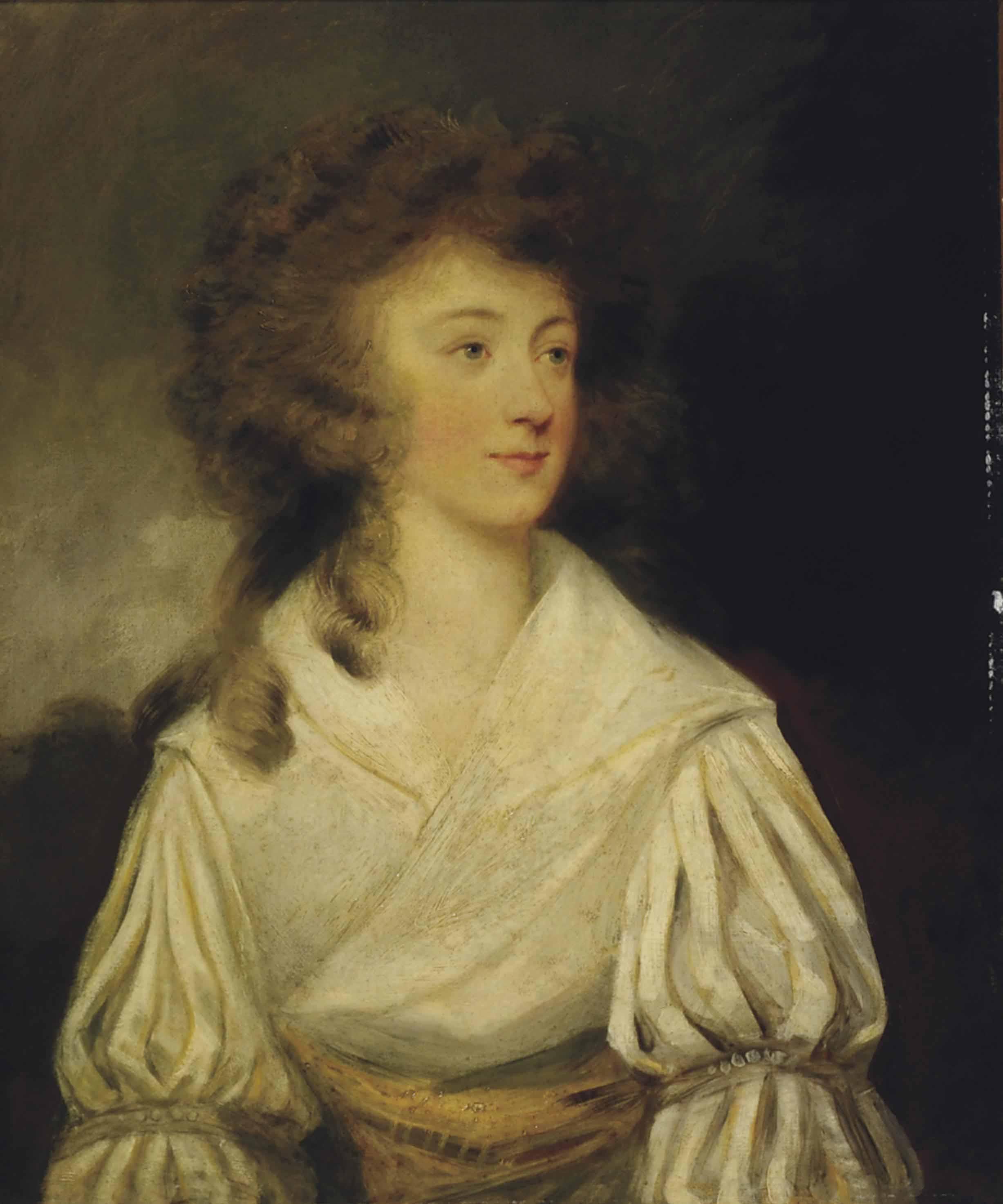Portrait of Mrs Guyon, half-length, in a white dress