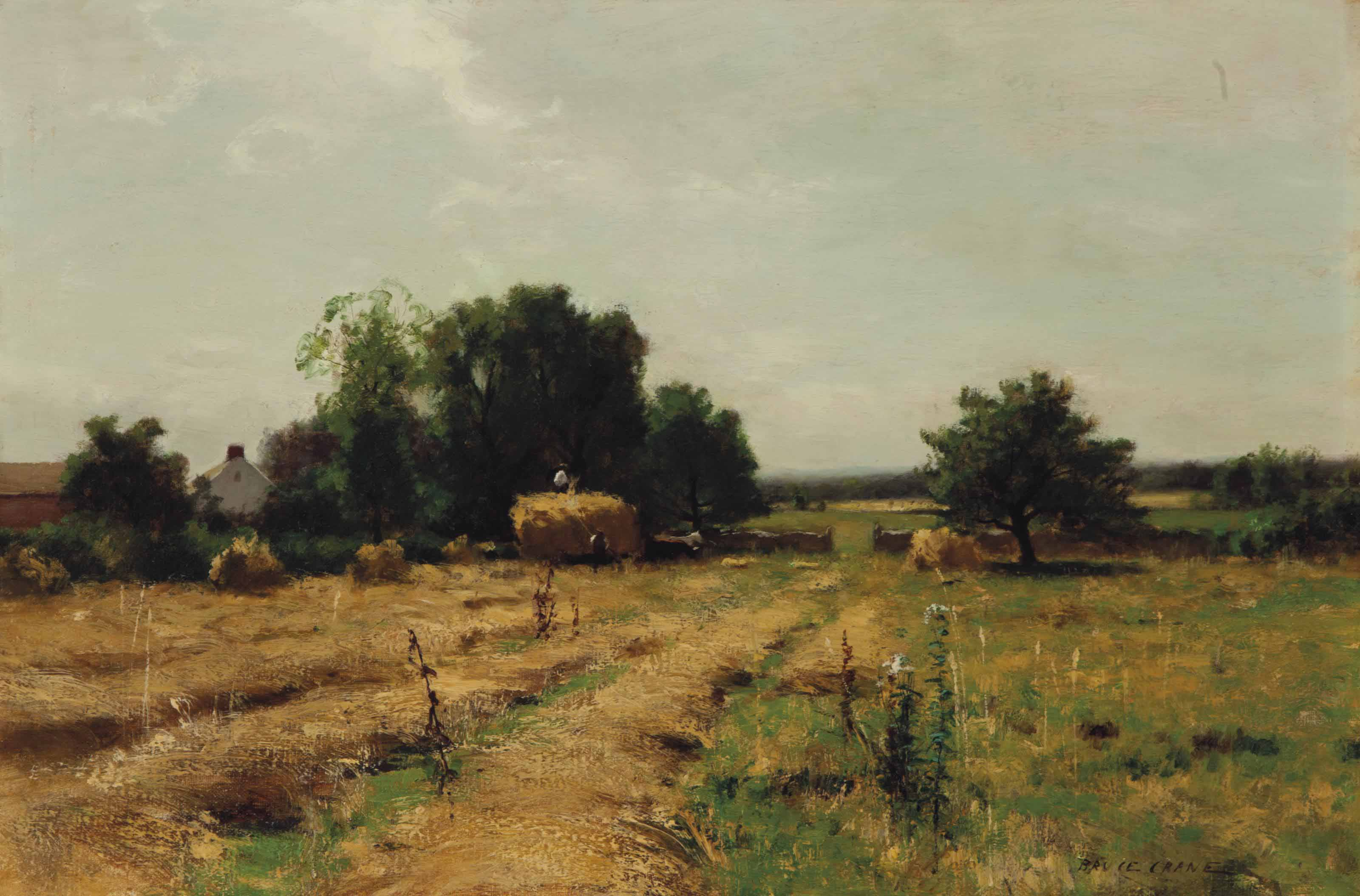 Summer landscape with figures haying