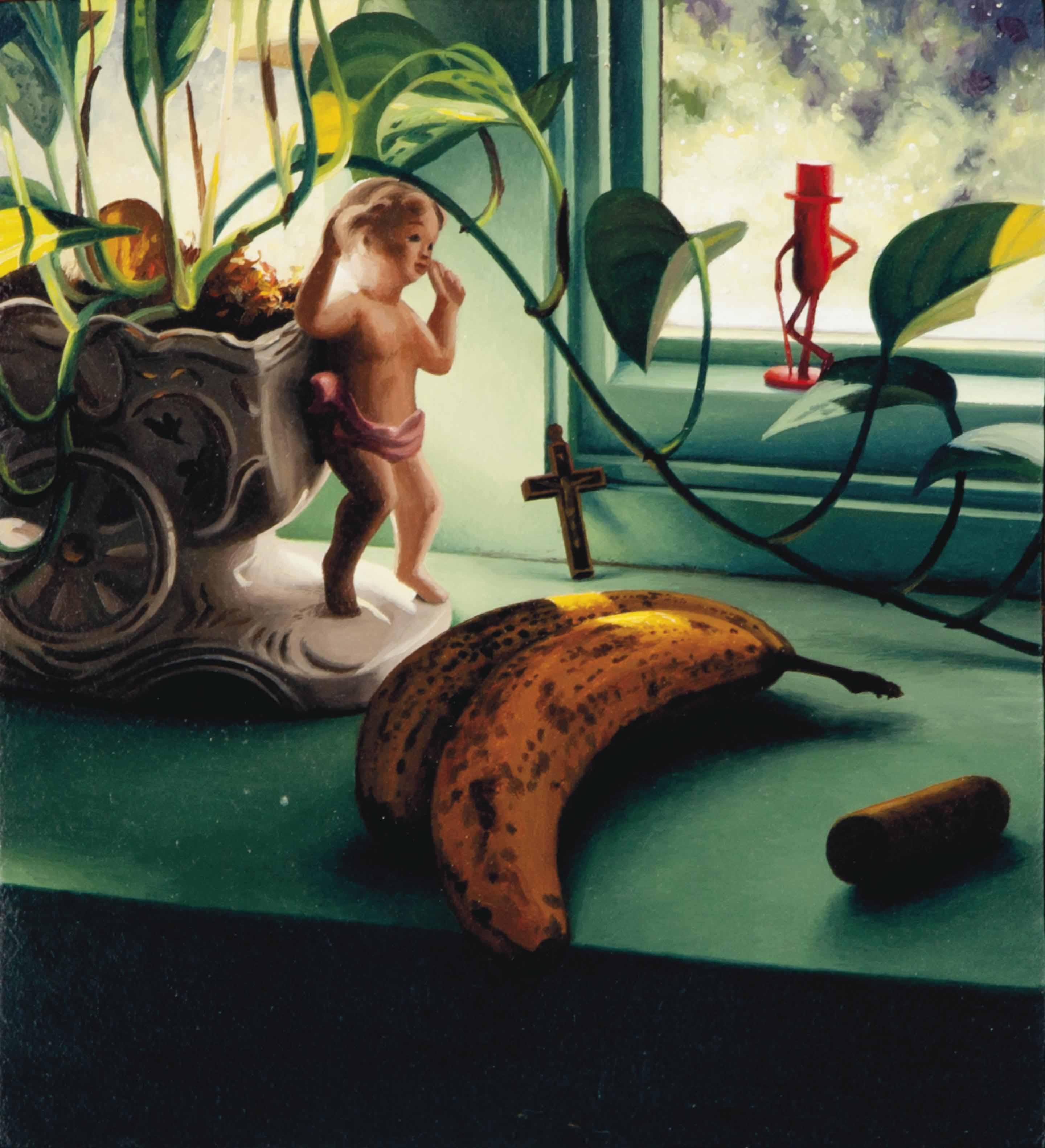 Still life with cherubic figure, bananas, wine cork and Mr. Peanut figurine