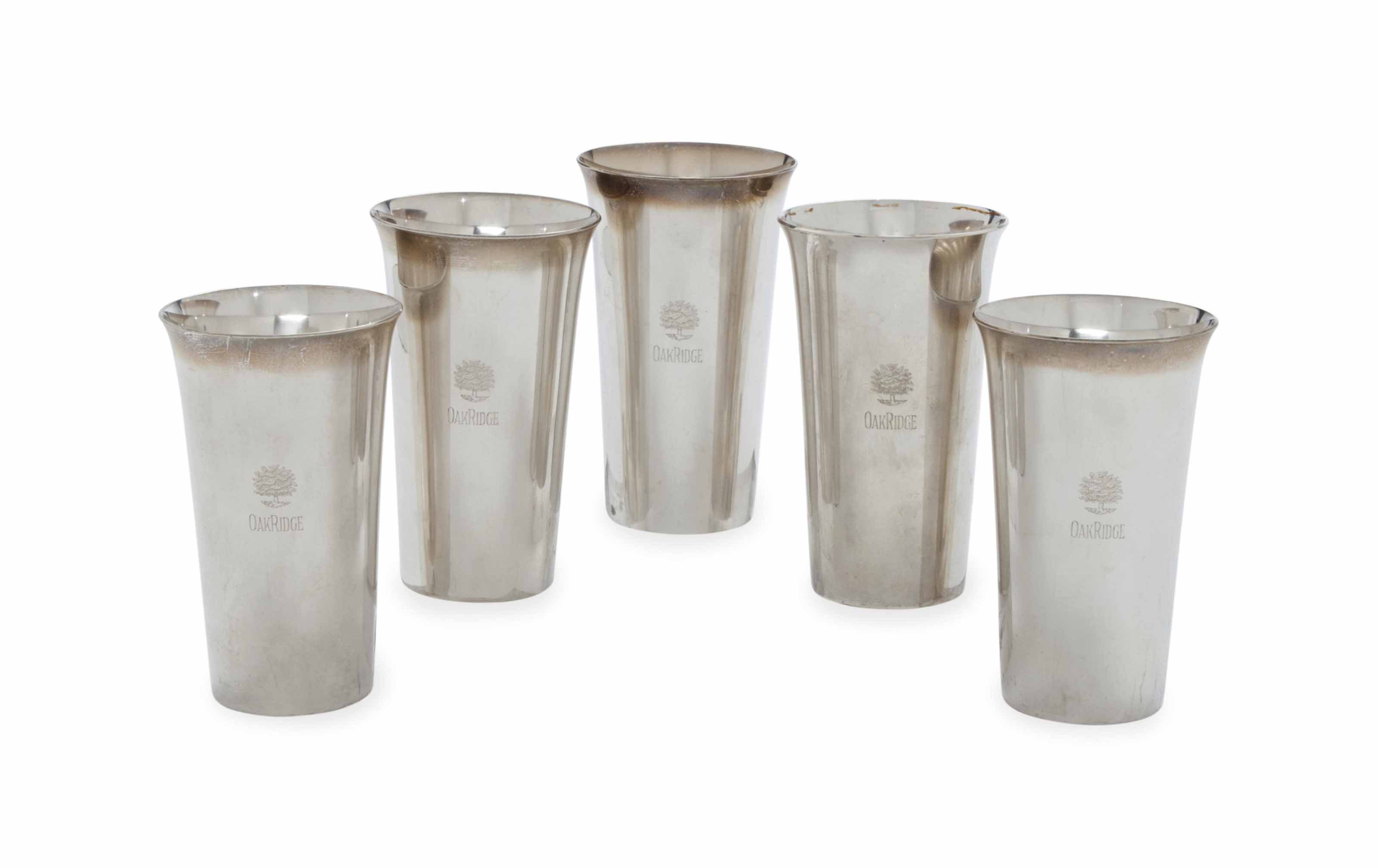 A SET OF TWELVE AMERICAN SILVER TALL TUMBLERS,
