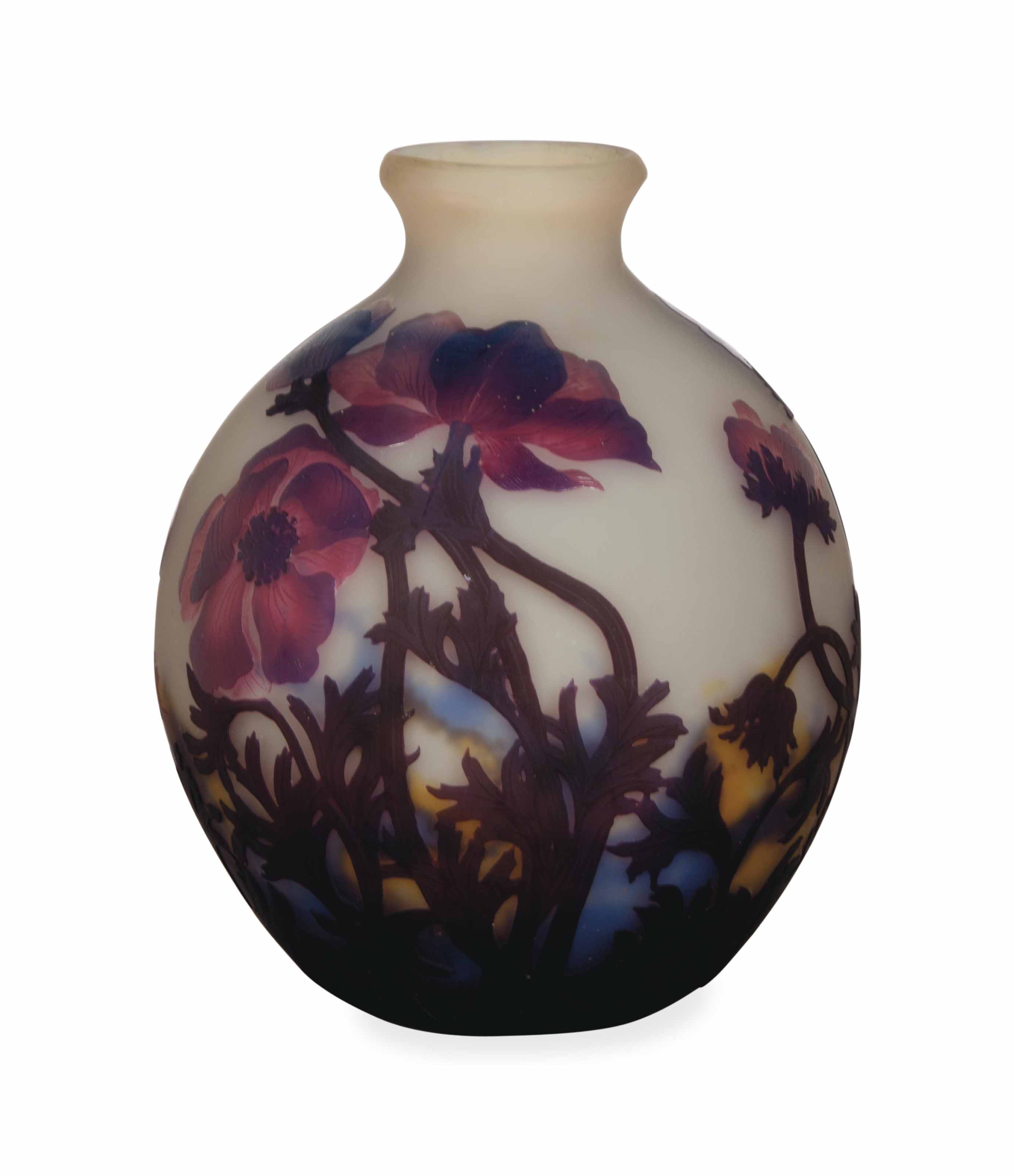 A FRENCH ETCHED CAMEO GLASS GLOBULAR VASE,