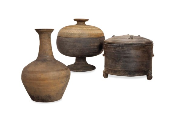 THREE CHINESE GREY POTTERY VES