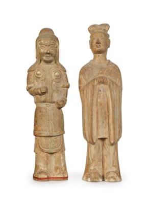 TWO CHINESE STRAW-GLAZED POTTE
