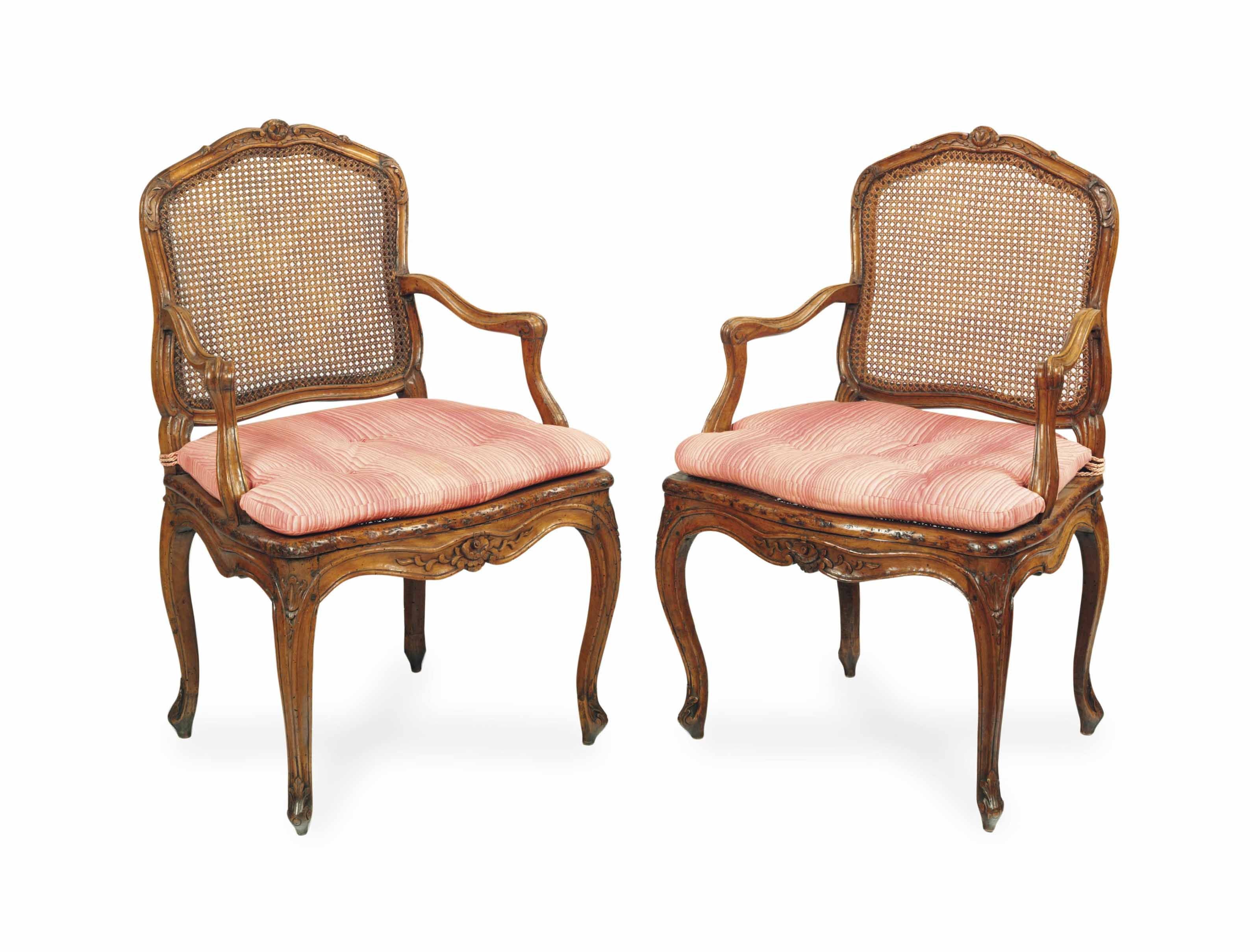 A SET OF SIX LOUIS XVI BEECH AND CANED FAUTEUILS,