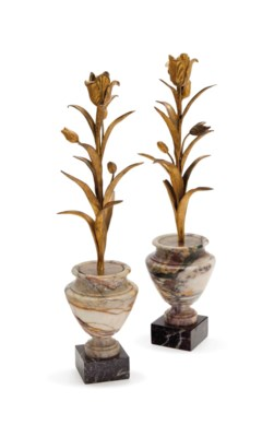 A PAIR OF MARBLE AND GILT-BRON