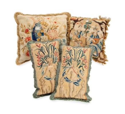 A GROUP OF FOUR NEEDLEWORK AND