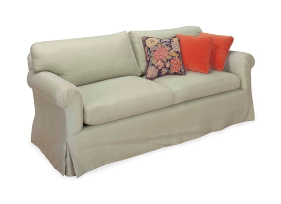 A GREEN TWILL-UPHOLSTERED TWO-