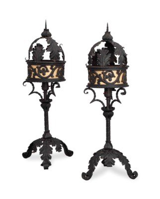 A PAIR OF BLACK-PAINTED WROUGH