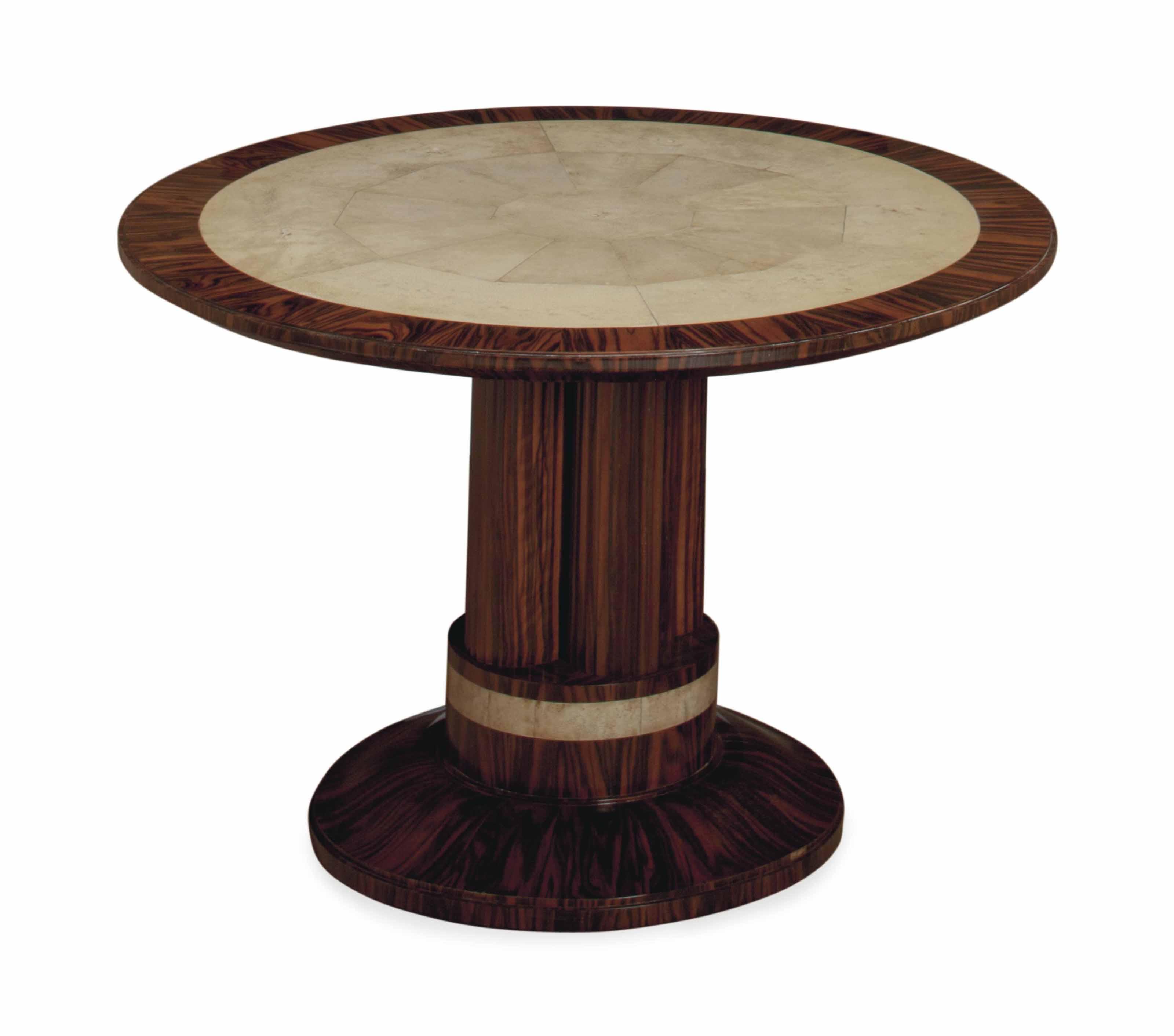 A FRENCH SHAGREEN-MOUNTED CALAMANDER CIRCULAR LOW TABLE,