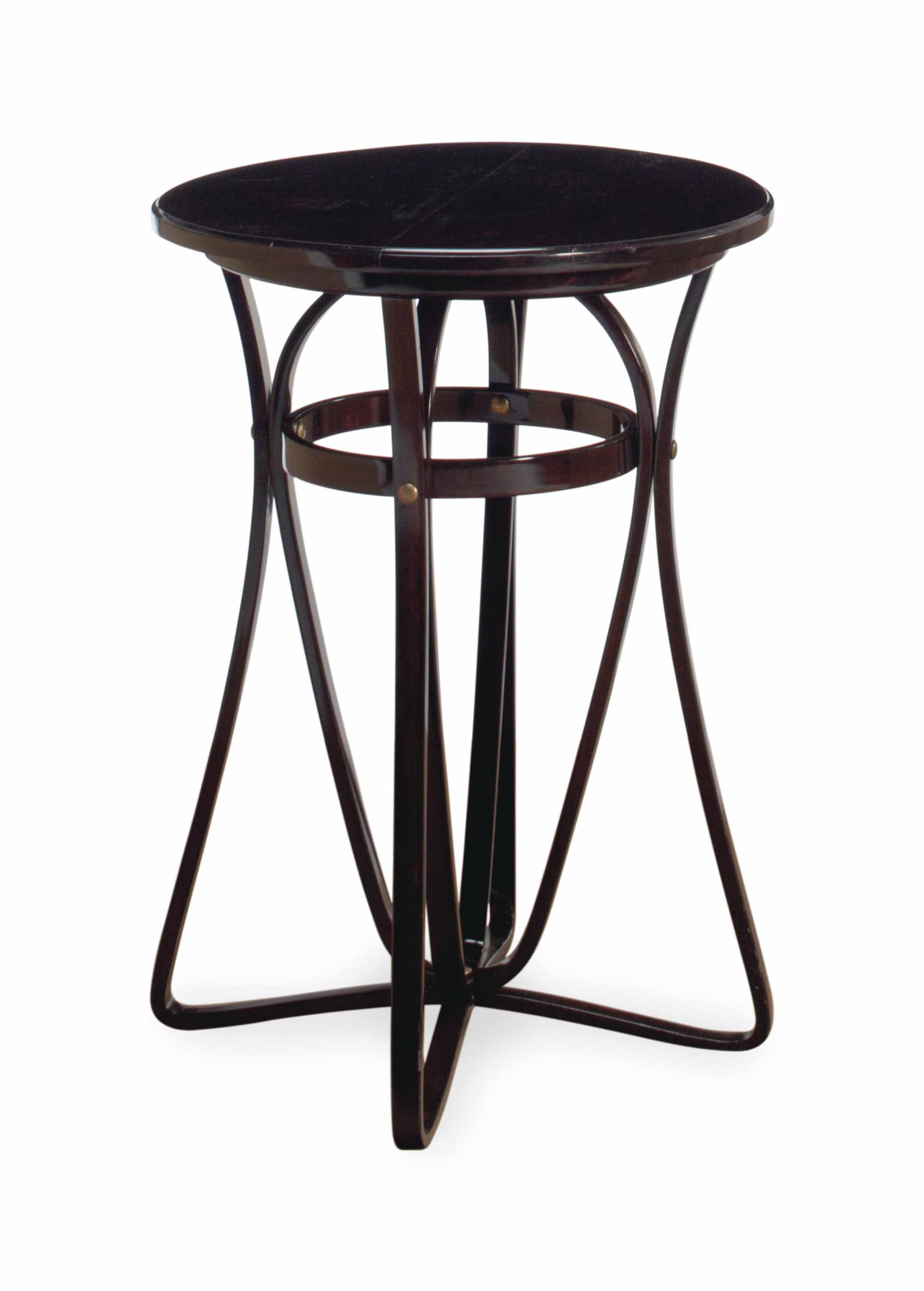 A STAINED CIRCULAR TABLE,