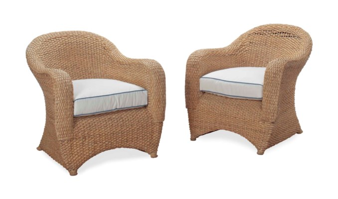 A PAIR OF WICKER AND RATTAN CL