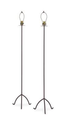 A PAIR OF METAL FLOOR LAMPS,