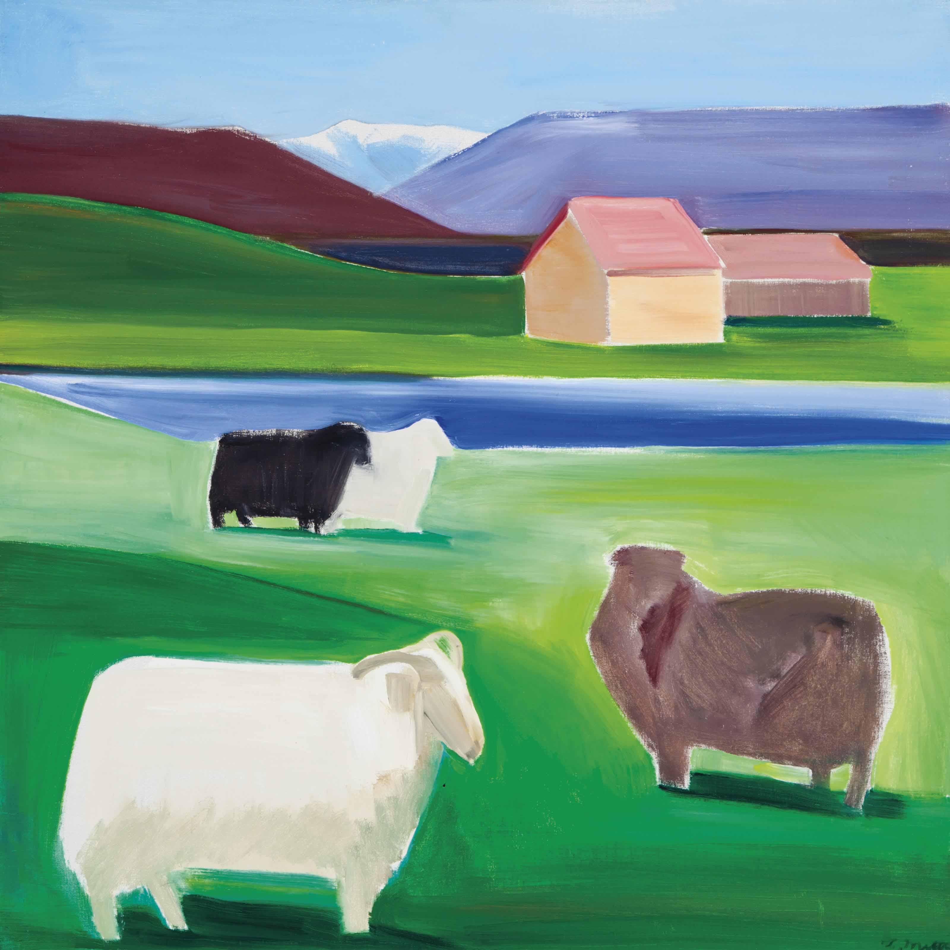 Icelandic landscape with sheep
