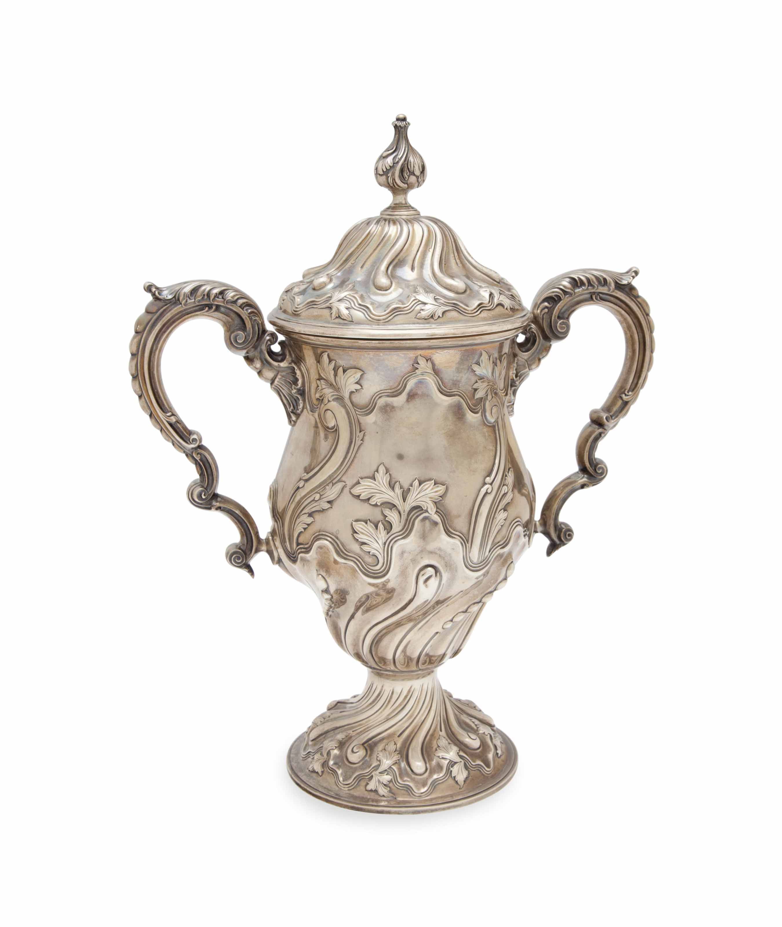AN AMERICAN REPOUSSE SILVER LARGE TWO HANDLED CUP AND COVER,