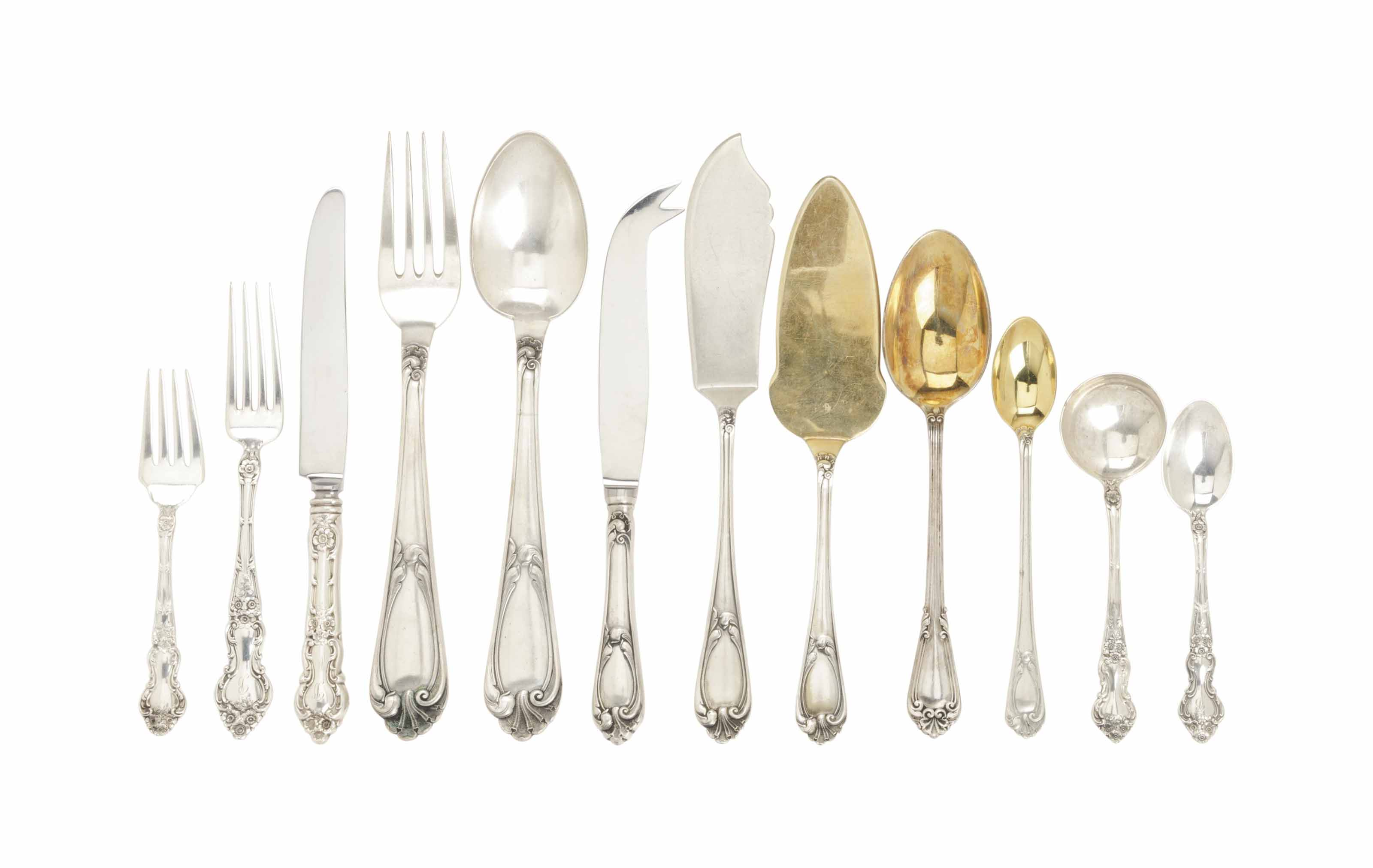 AN ASSEMBLED AMERICAN AND PORTUGUESE SILVER PART FLATWARE SERVICE,