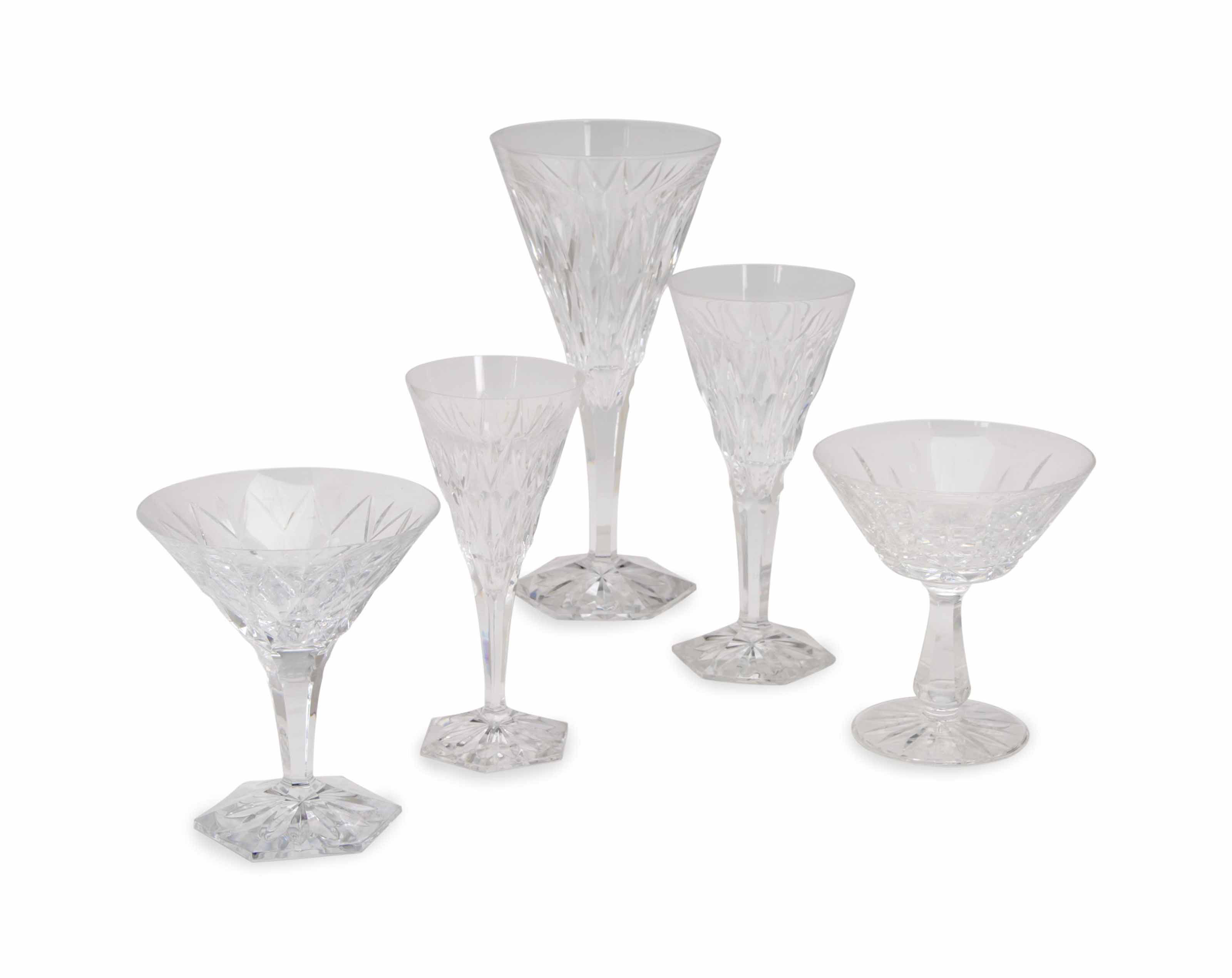 A FRENCH CLEAR GLASS PART STEMWARE SERVICE,
