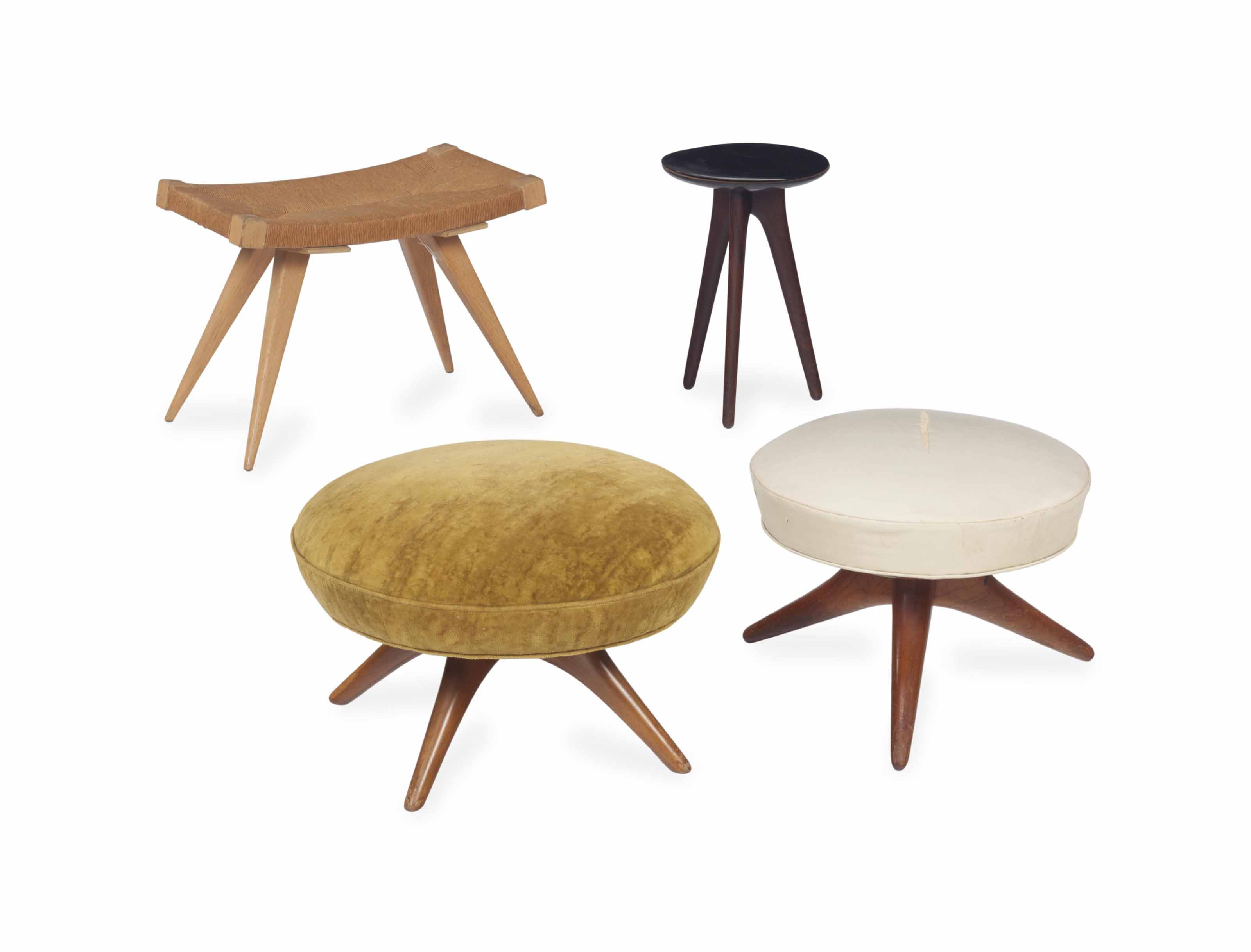 A GROUP OF FOUR STOOLS,