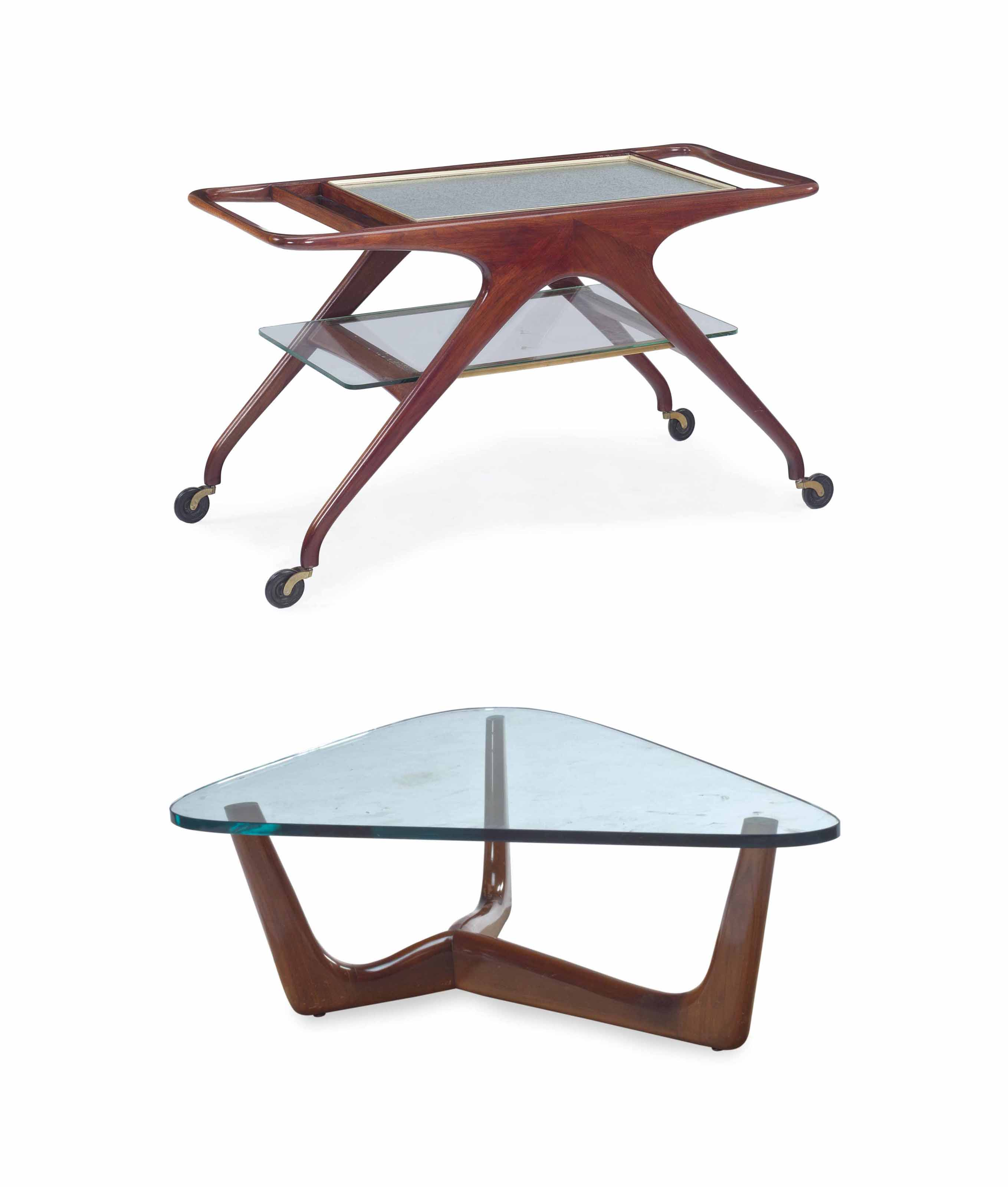 A WALNUT, LAMINATE AND GLASS TEA WAGON, AND A WALNUT AND GLASS LOW TABLE,