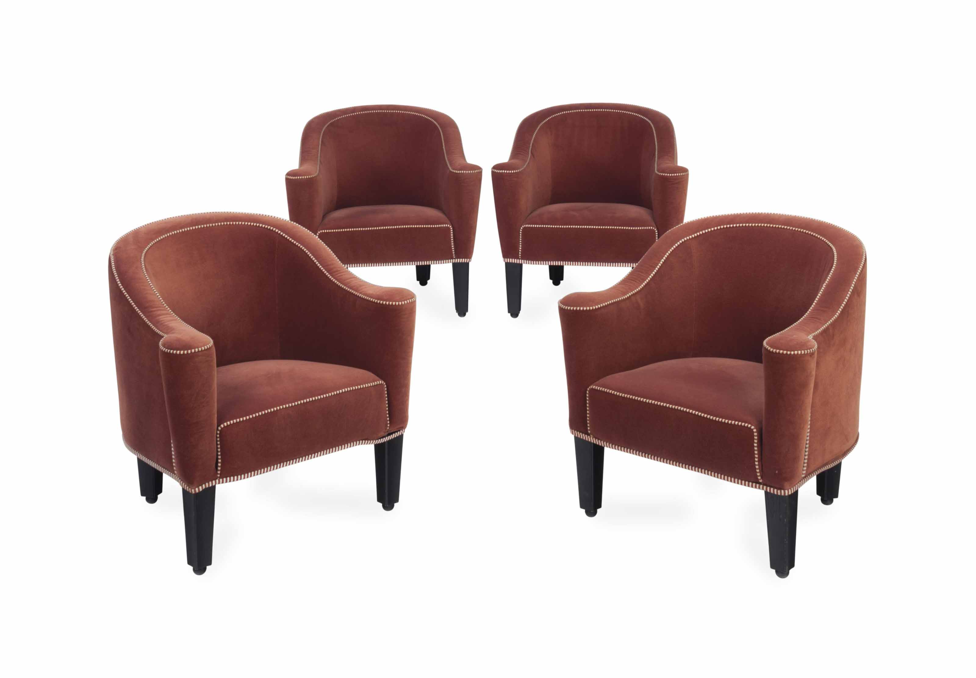 A SET OF FOUR AUSTRIAN UPHOLSTERED 'VILLA GALLIA' CHAIRS,