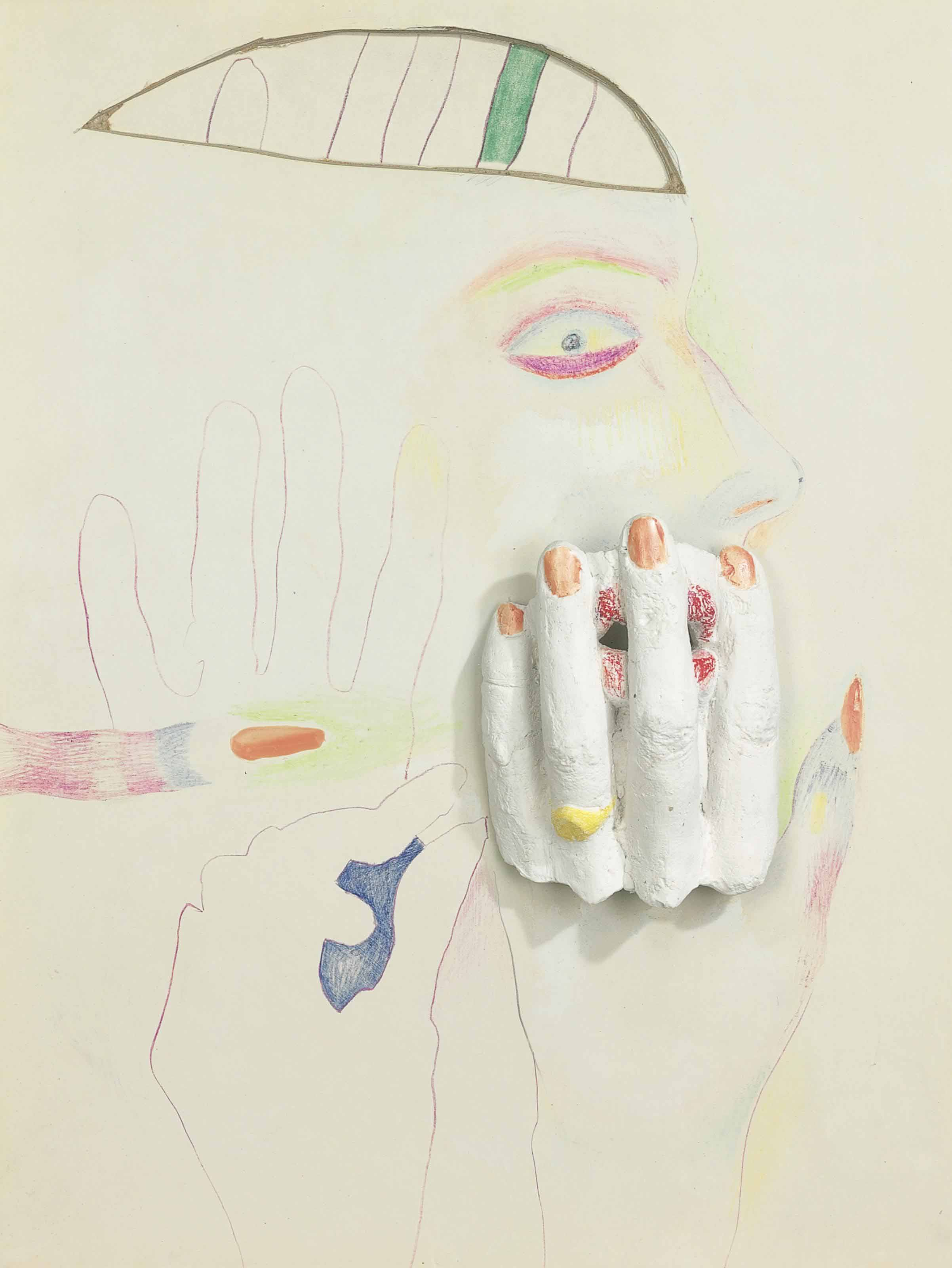 Untitled (Drawing with Plaster Hand)