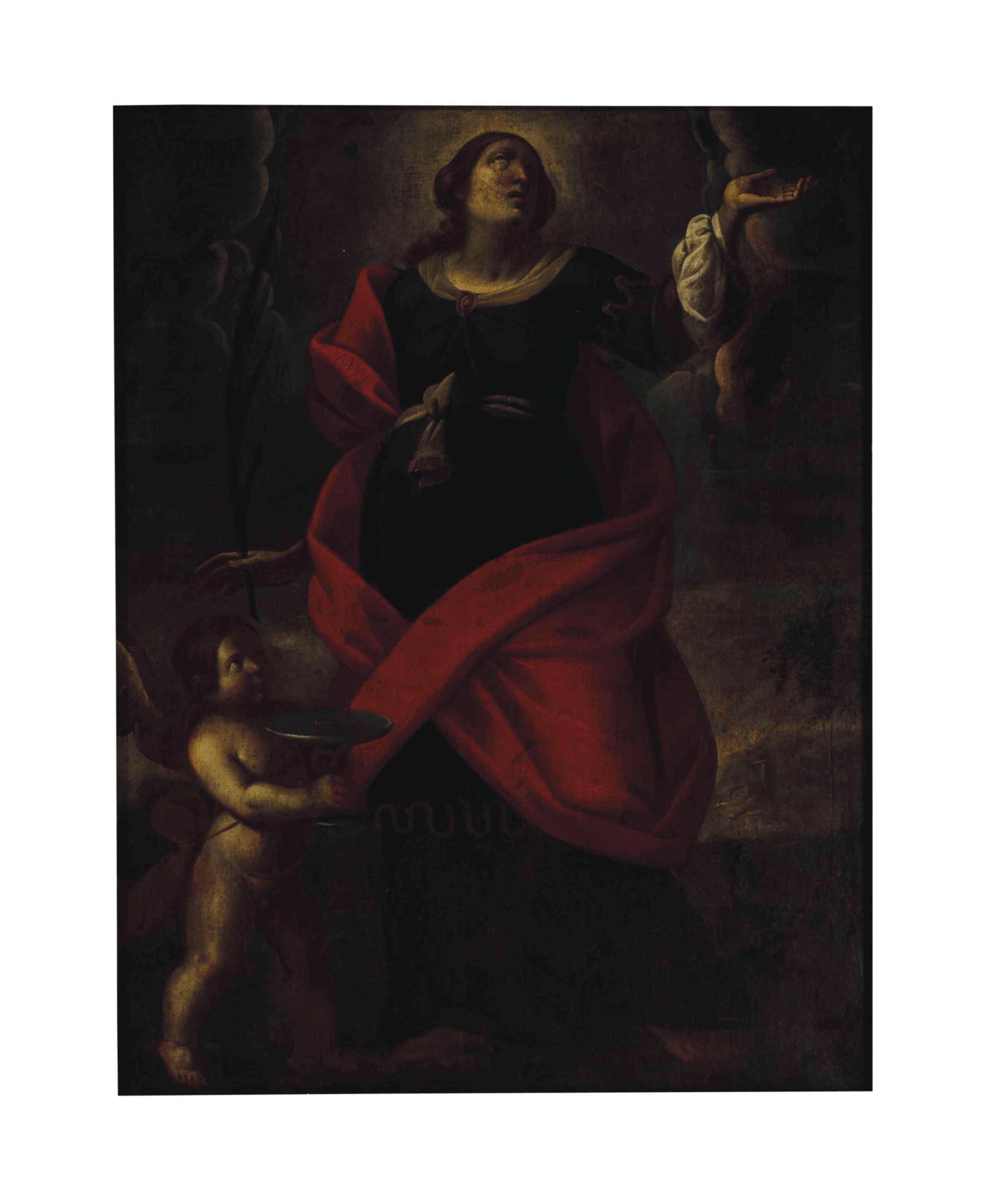 A female martyr saint, probably Saint Lucy, with an angel in attendance
