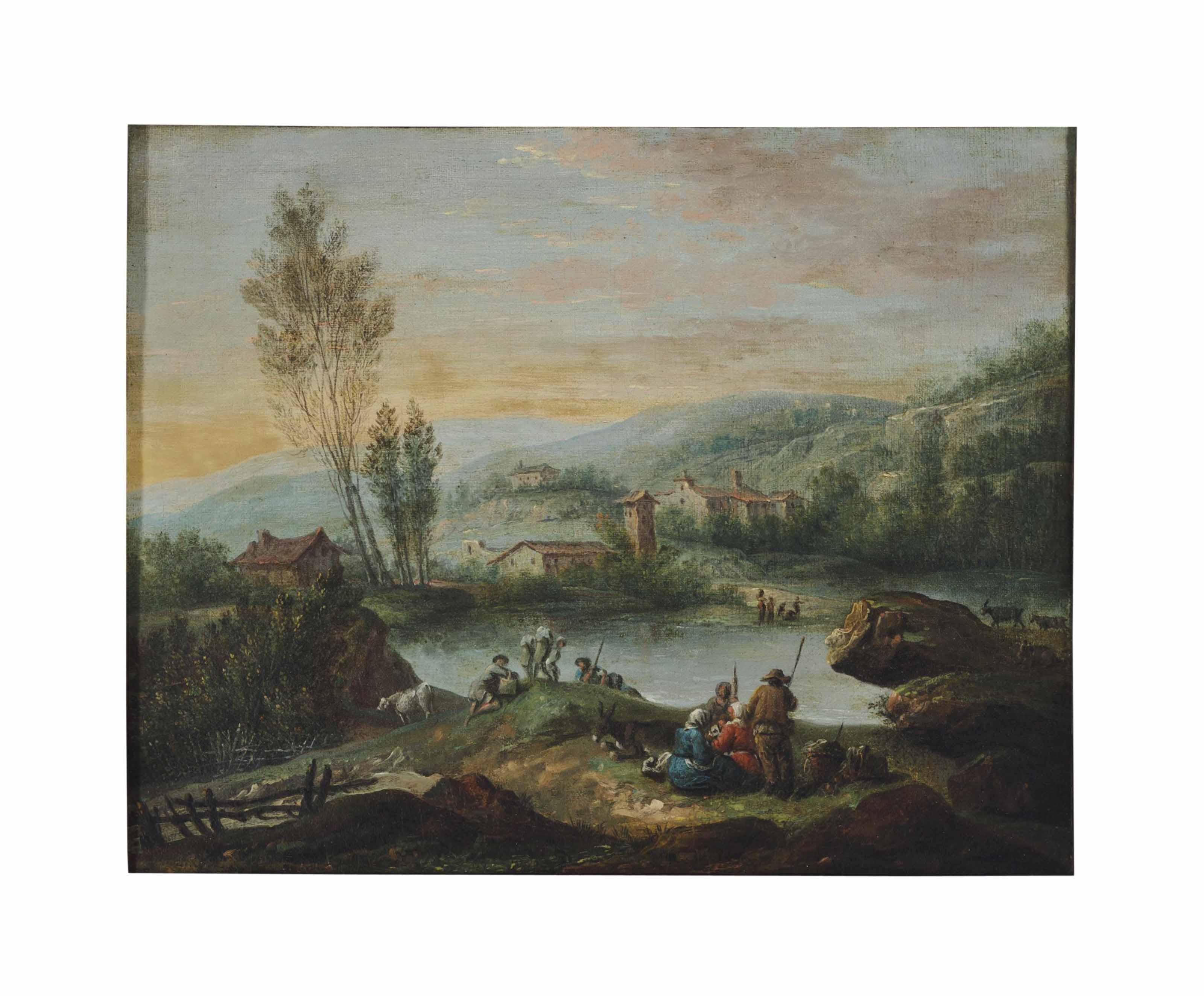 A village landscape with peasants resting by the river; and a companion painting